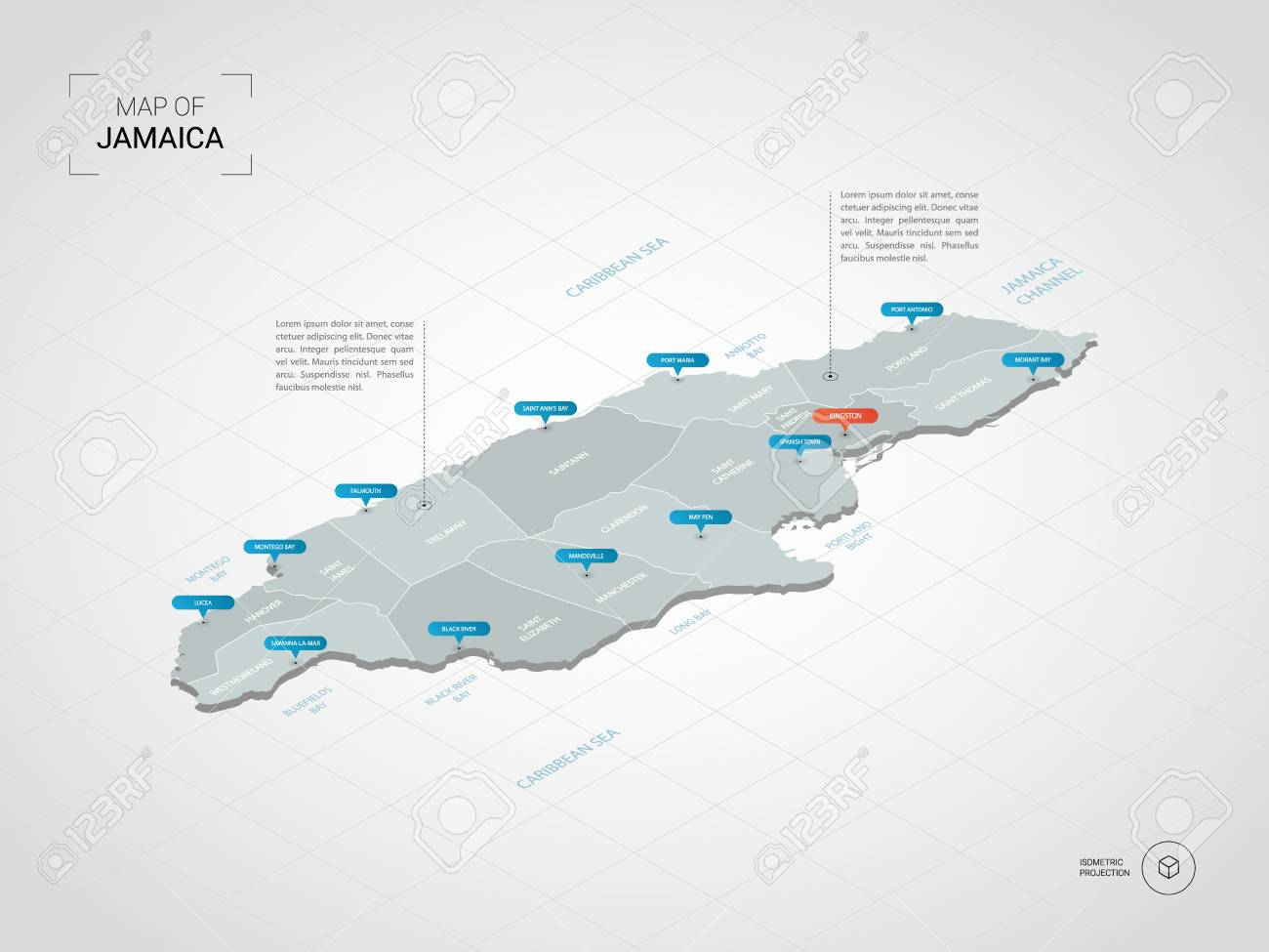 Isometric 3D Jamaica Map. Stylized Vector Map Illustration With ...