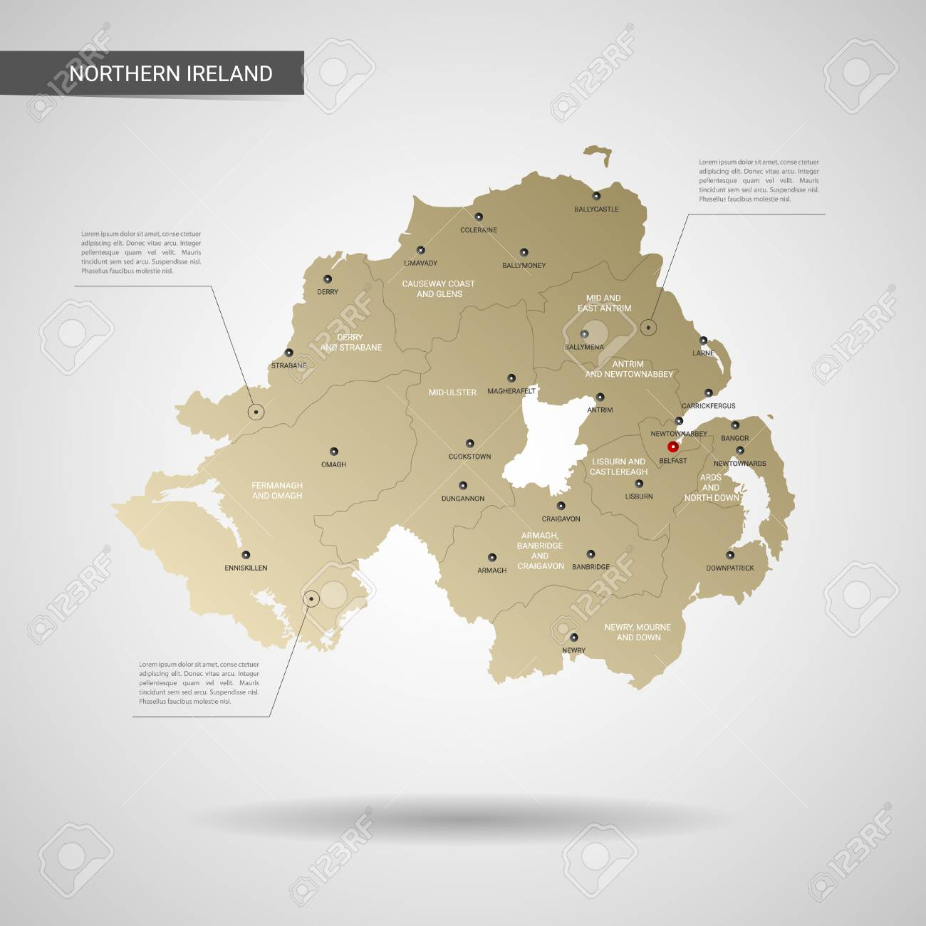 Map Of Ireland 3d.Stylized Vector Northern Ireland Map Infographic 3d Gold Map