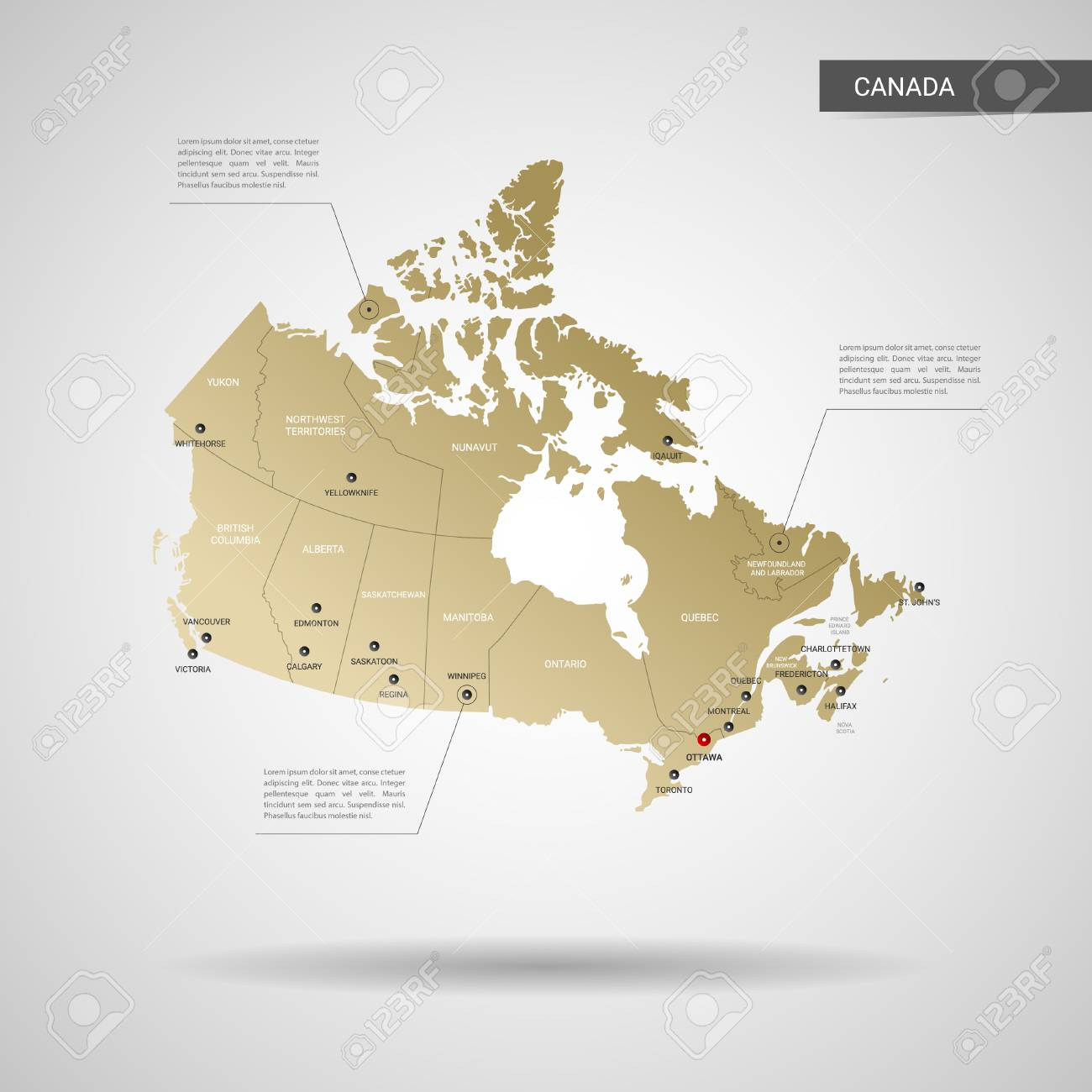 Canada Gold Map Stylized Vector Canada Map. Infographic 3d Gold Map Gradient