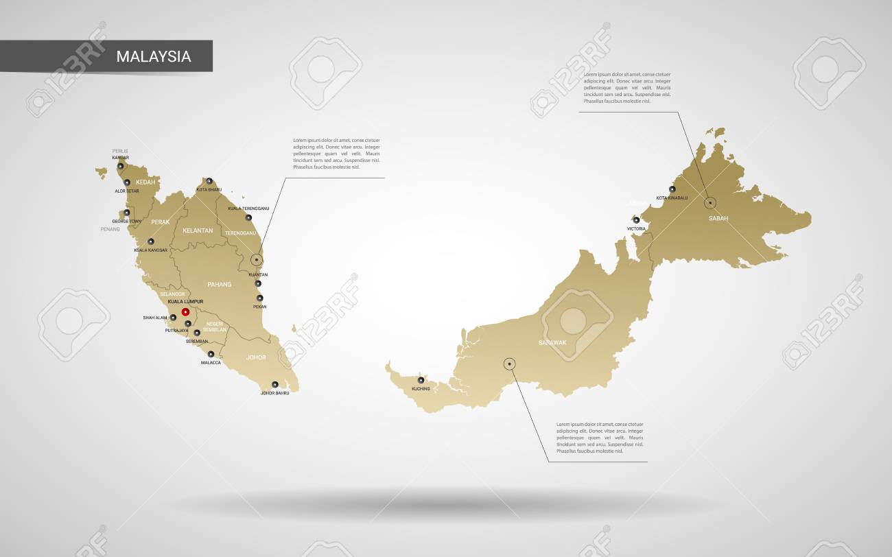 Stylized vector Malaysia map. Infographic 3d gold map illustration with cities, borders, capital, administrative divisions and pointer marks, shadow; gradient background. - 109852892