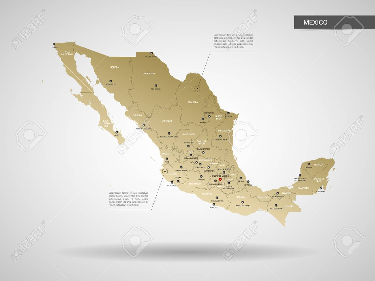Stylized Vector Mexico Map Infographic 3d Gold Map Illustration