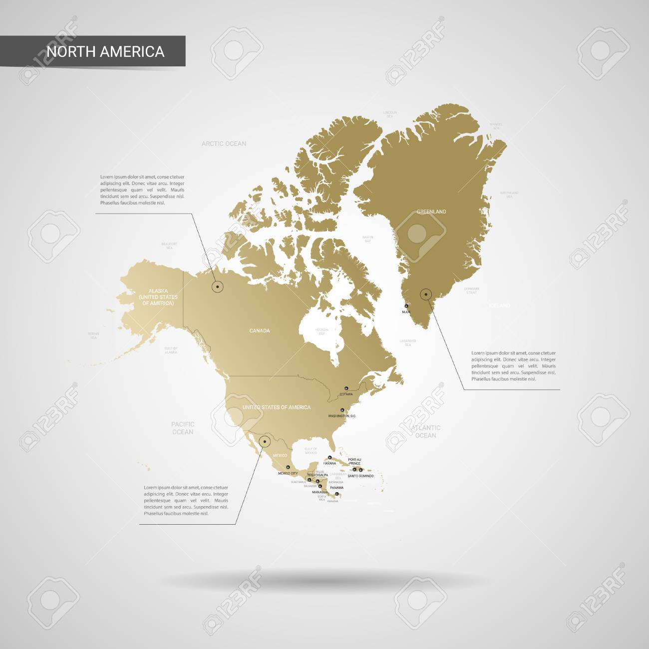 Stylized vector North America map. Infographic 3d gold map illustration..