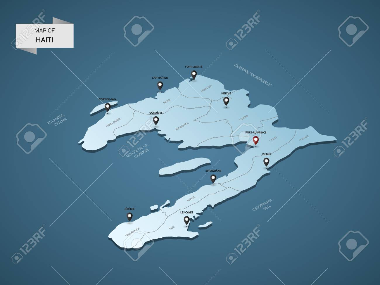 Isometric 3D Haiti Map, Vector Illustration With Cities, Borders ...