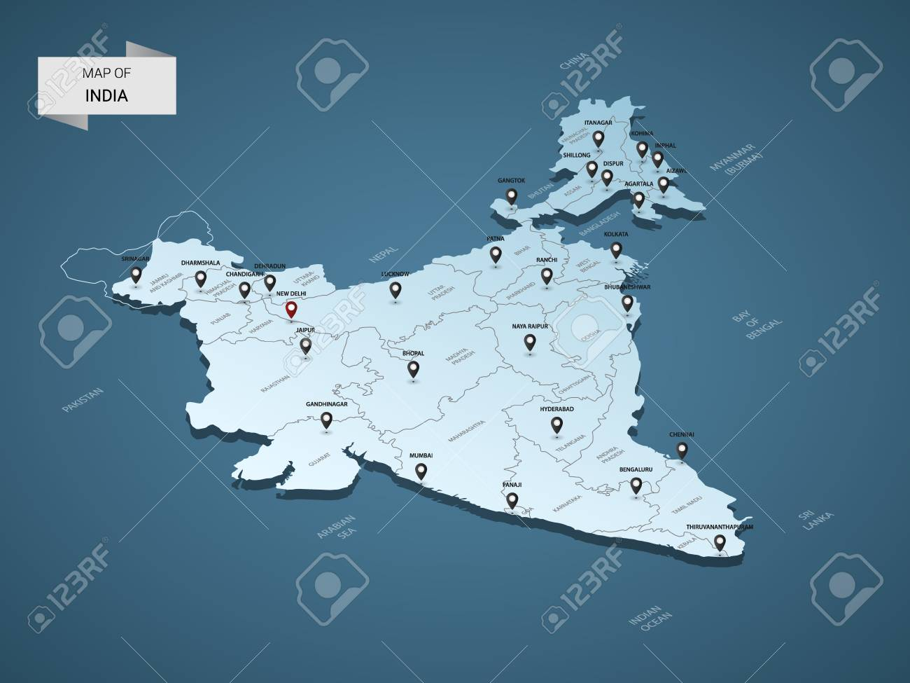 Isometric 3D India Map, Vector Illustration With Cities, Borders ...