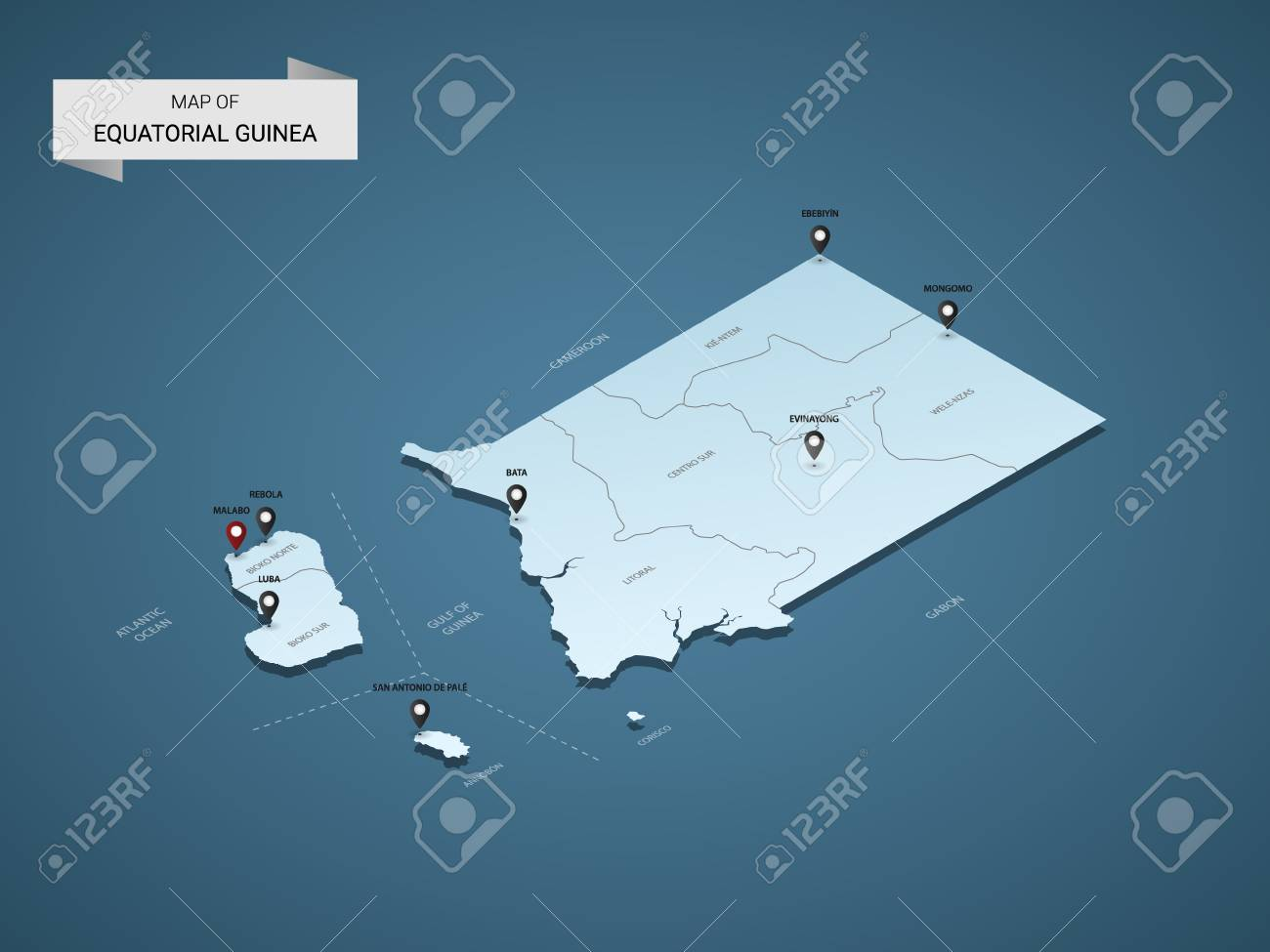Isometric 3D Equatorial Guinea Map, Vector Illustration With Cities ...