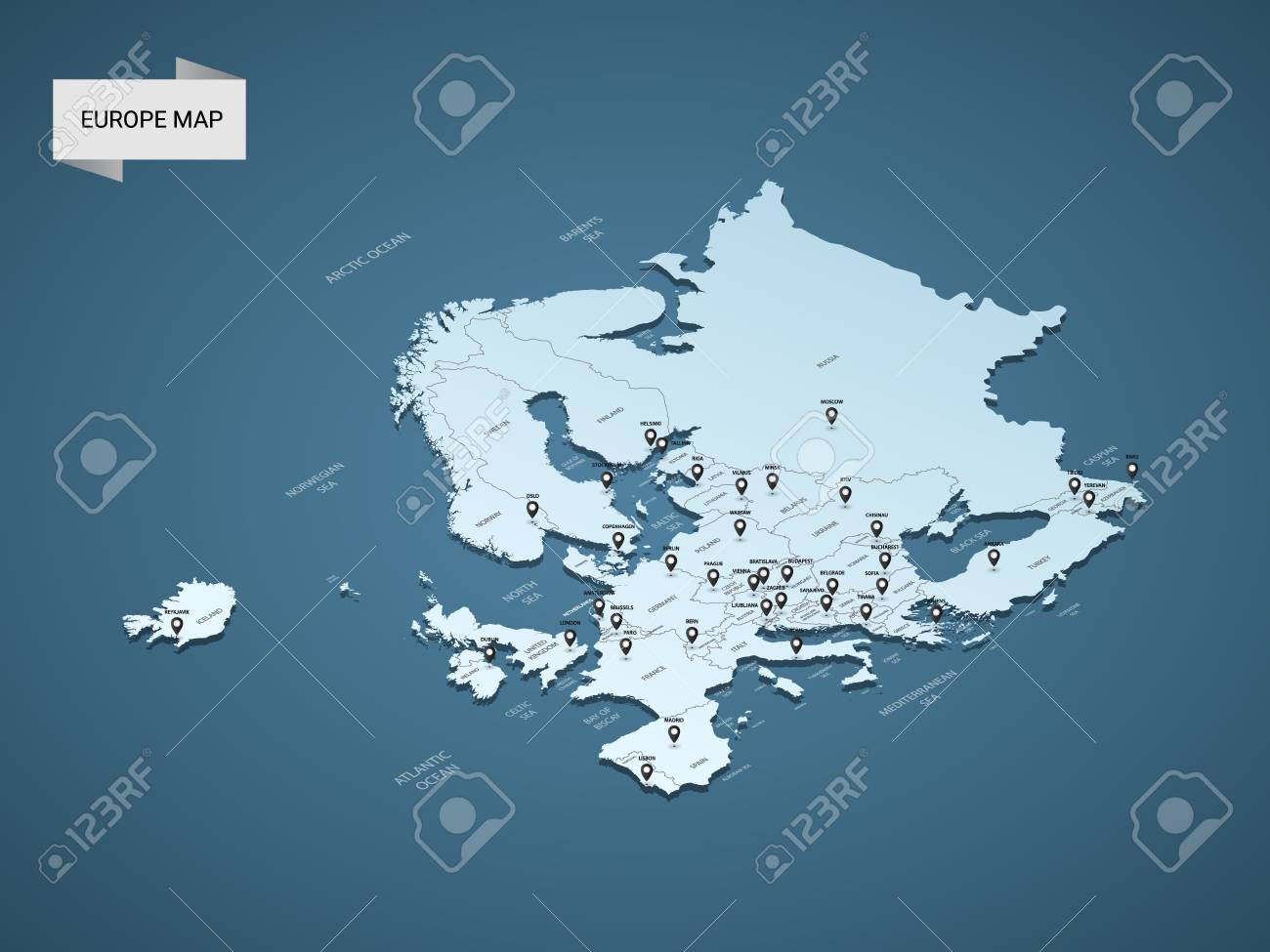 Isometric 3D Europe map, vector illustration with cities, borders, capital, administrative divisions and pointer marks; gradient blue background. Concept for infographic. - 111124934
