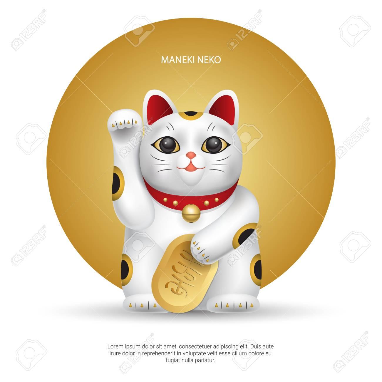 Realistic vector Maneki-neko, lucky japan cat on background with gold circle. - 111101427