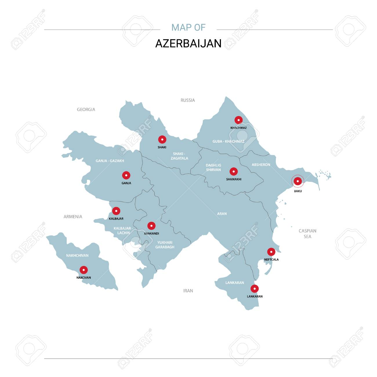 Azerbaijan vector map. Editable template with regions, cities, red pins and blue surface on white background. - 111124945
