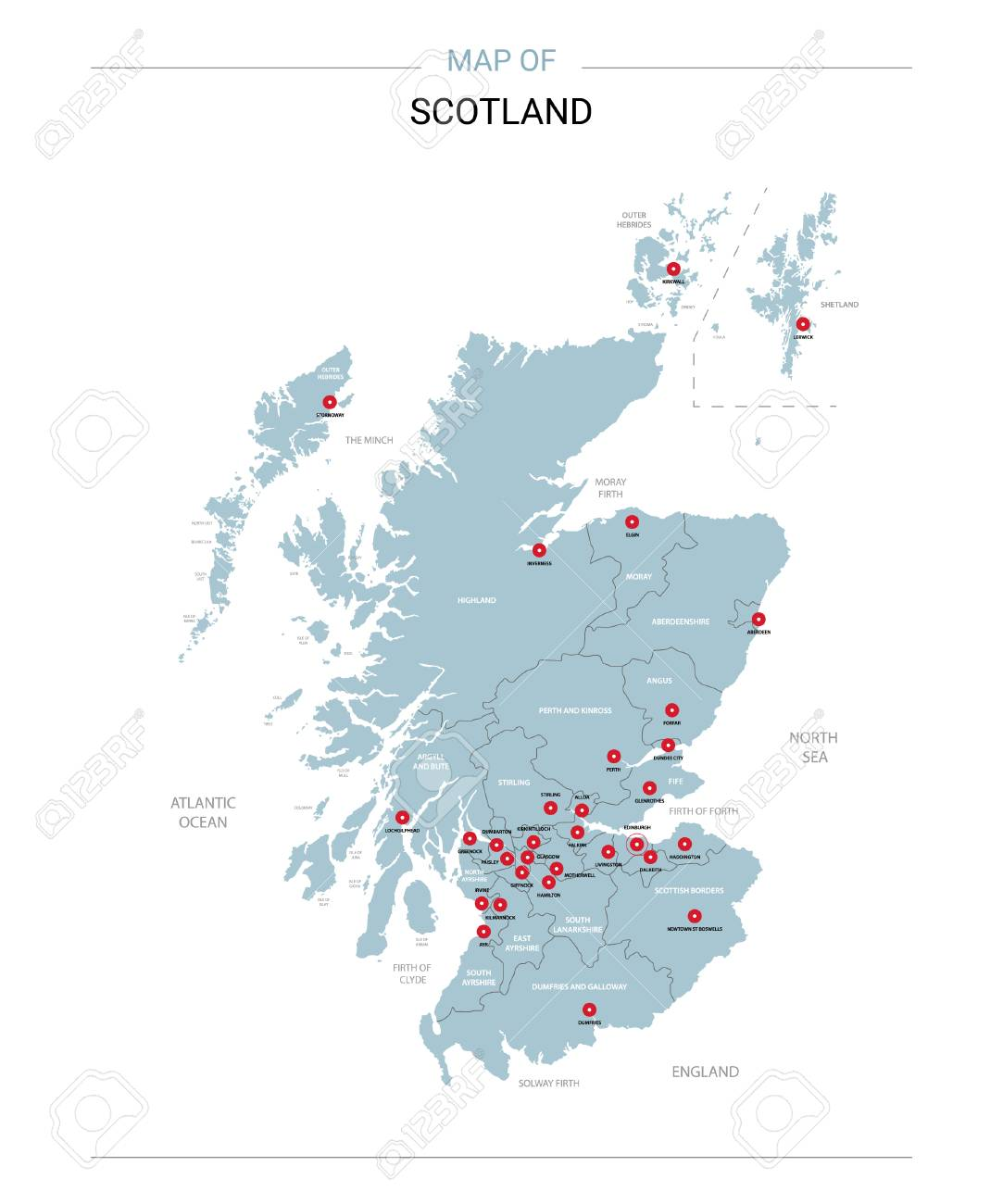 Scotland Vector Map Editable Template With Regions Cities