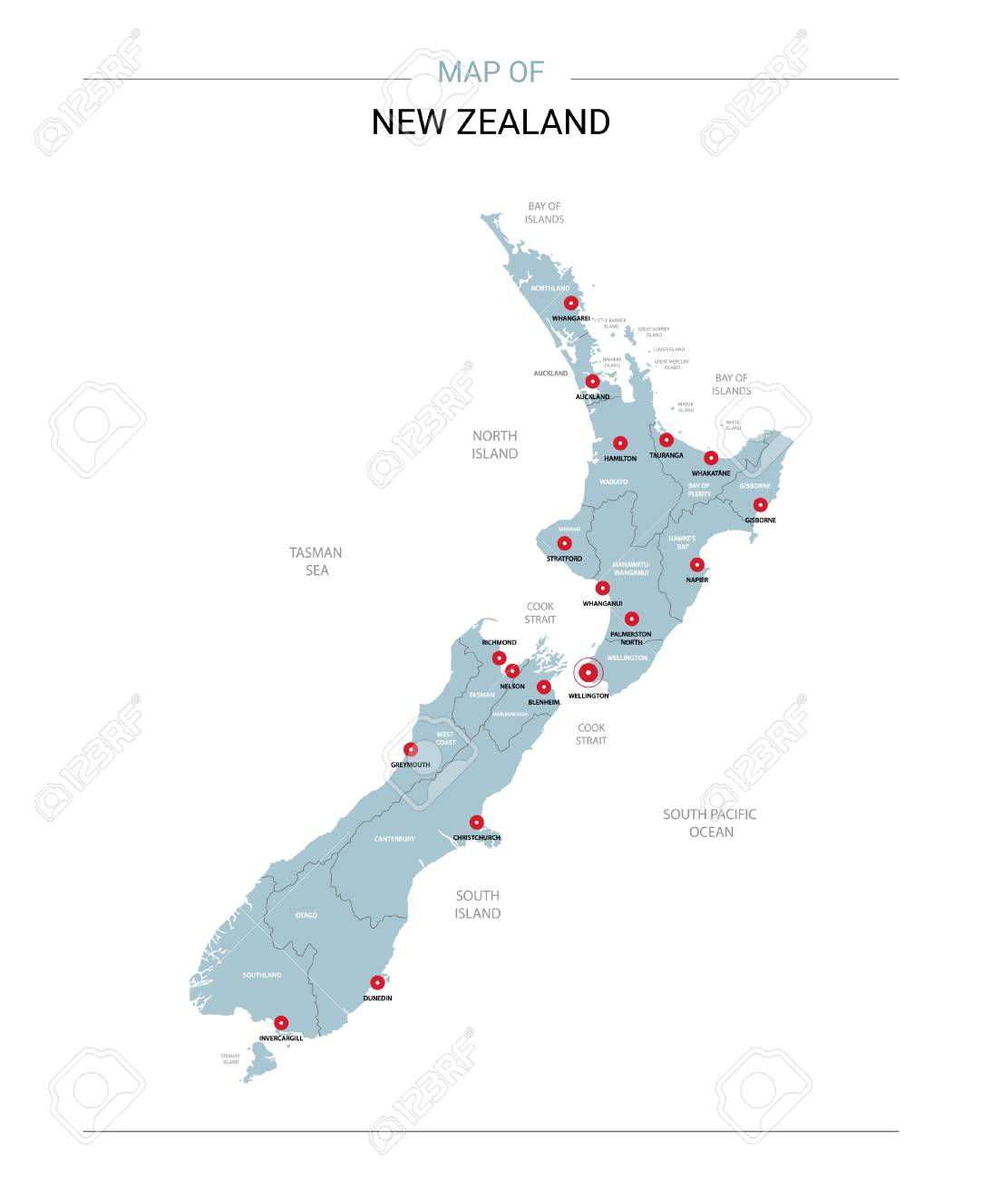 Map Of New Zealand With Cities.New Zealand Vector Map Editable Template With Regions Cities