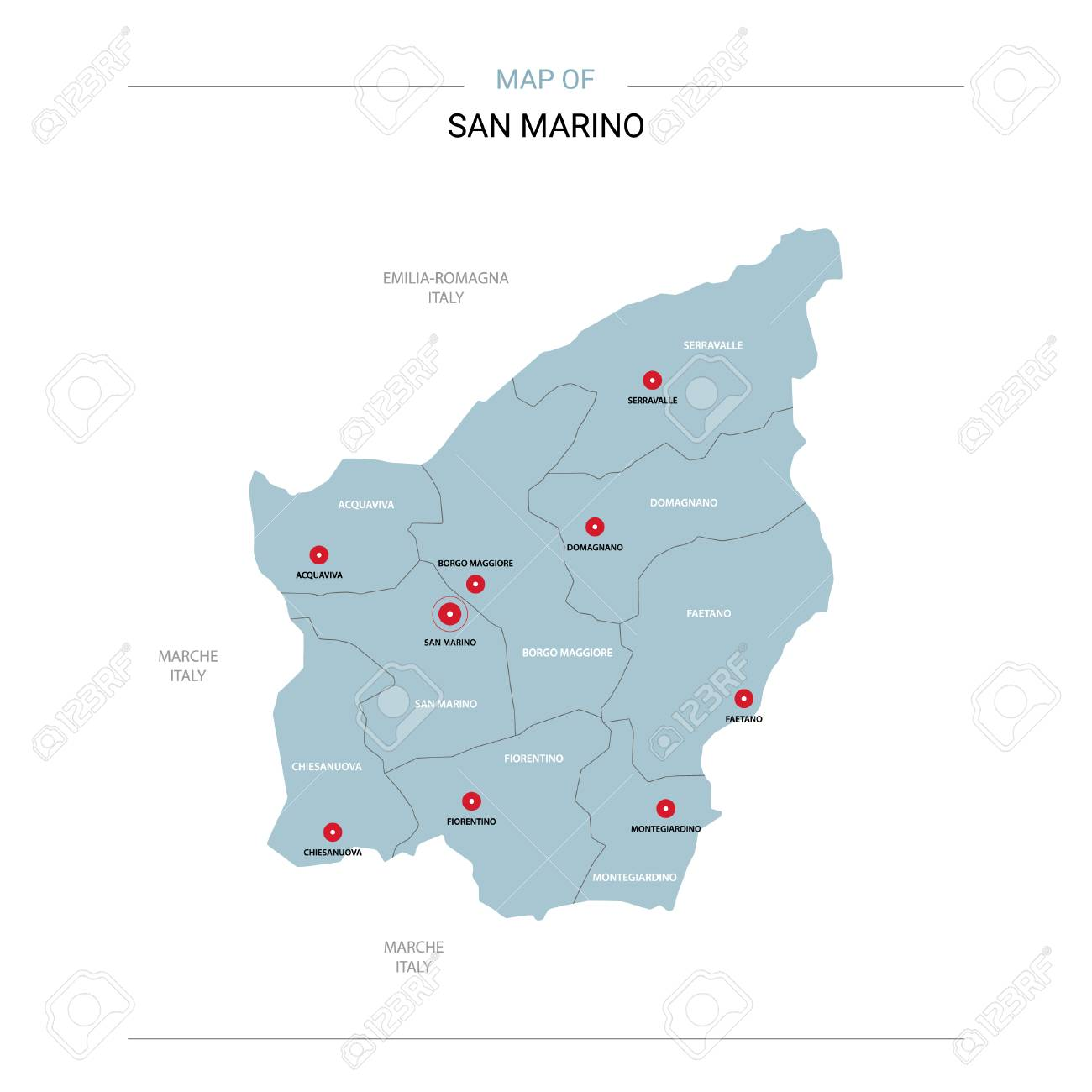 San Marino Vector Map Editable Template With Regions Cities