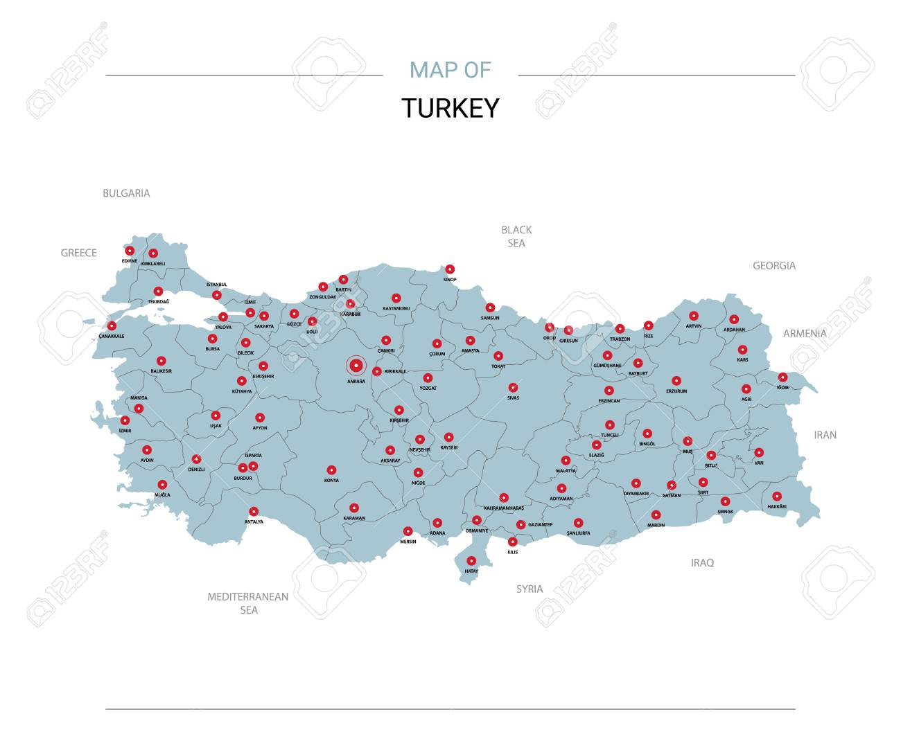 Turkey Vector Map. Editable Template With Regions, Cities, Red ...