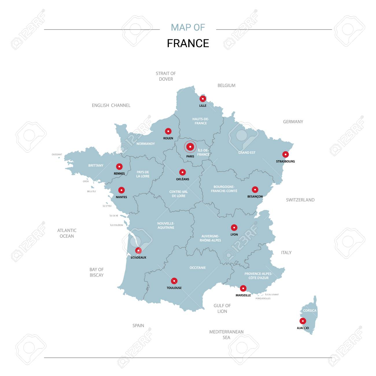 Map Of France Regions With Cities.France Vector Map Editable Template With Regions Cities Red