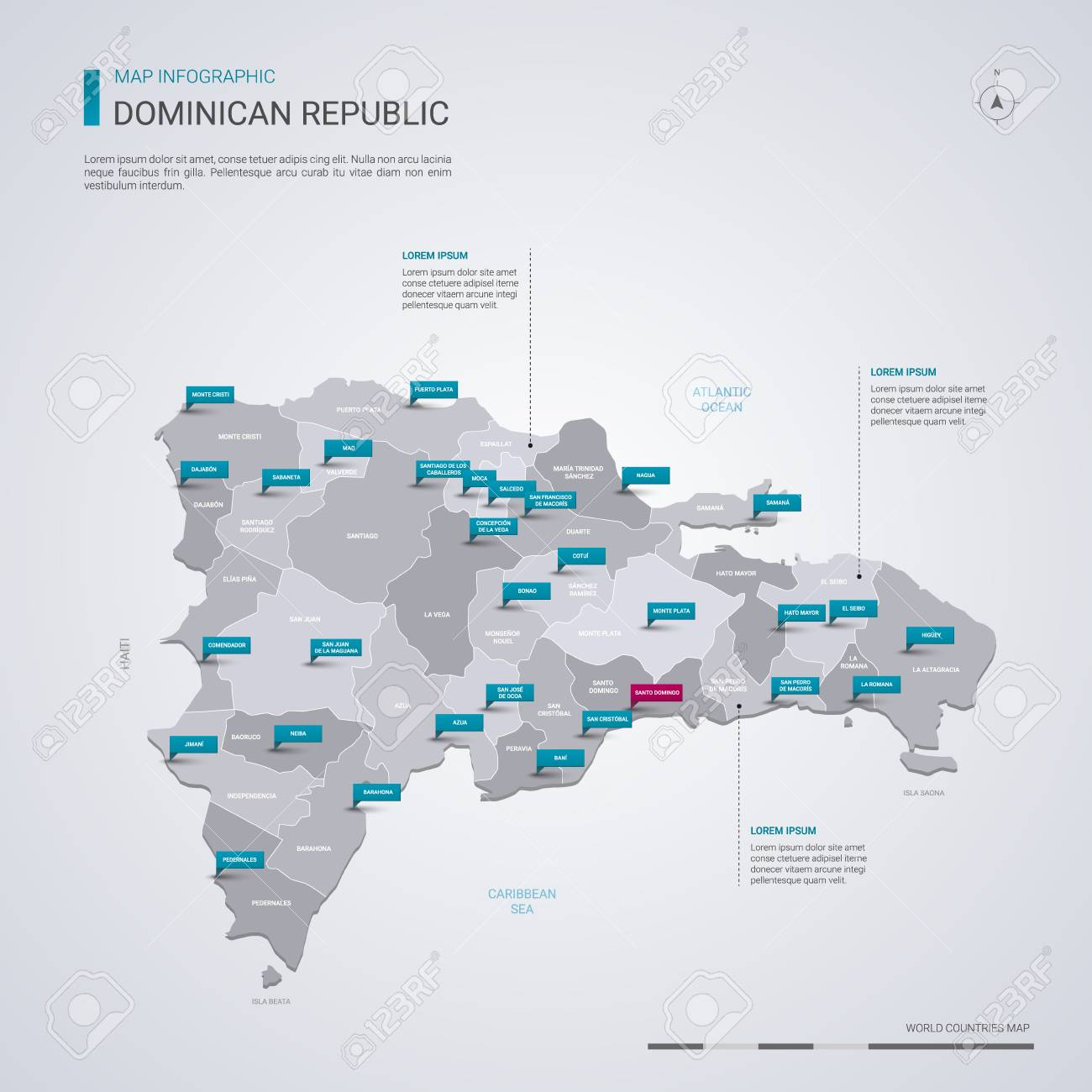 Dominican Republic vector map with infographic elements, pointer.. on paraguay cities map, rhine river cities map, barbados cities map, trinidad cities map, senegal cities map, bahamas cities map, guam cities map, antarctic cities map, luxembourg cities map, south sudan cities map, serbia cities map, western asia cities map, slovakia cities map, united states of america cities map, latvia cities map, belarus cities map, newfoundland and labrador cities map, nova scotia cities map, chad cities map, tibet cities map,