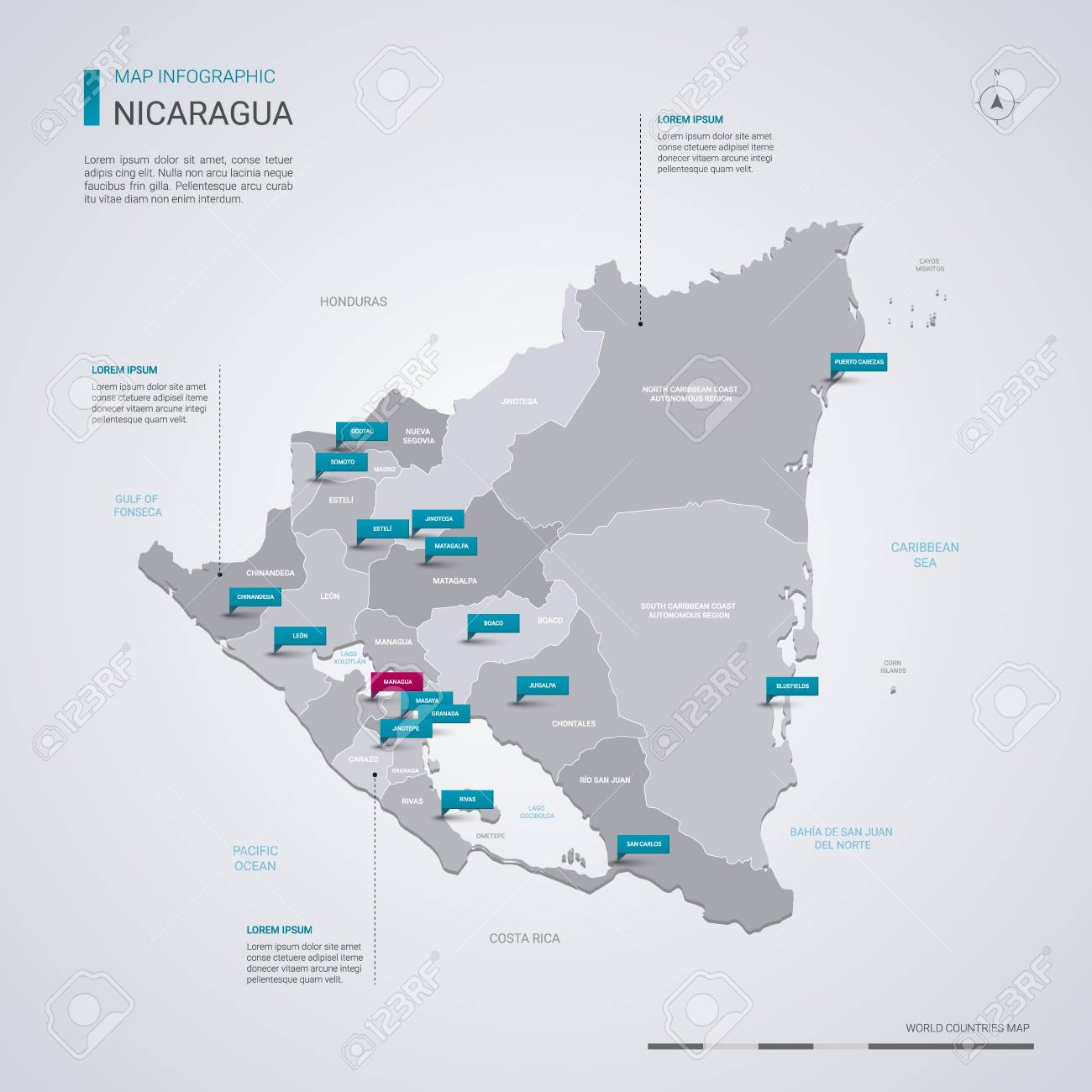 Nicaragua Vector Map With Infographic Elements, Pointer Marks ...