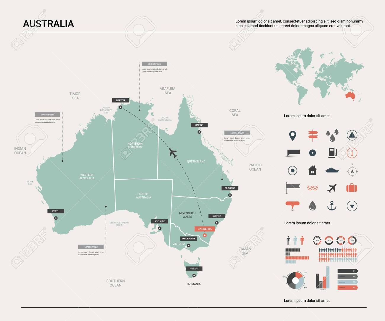 Australia Map Canberra.Vector Map Of Australia High Detailed Map With Division Cities