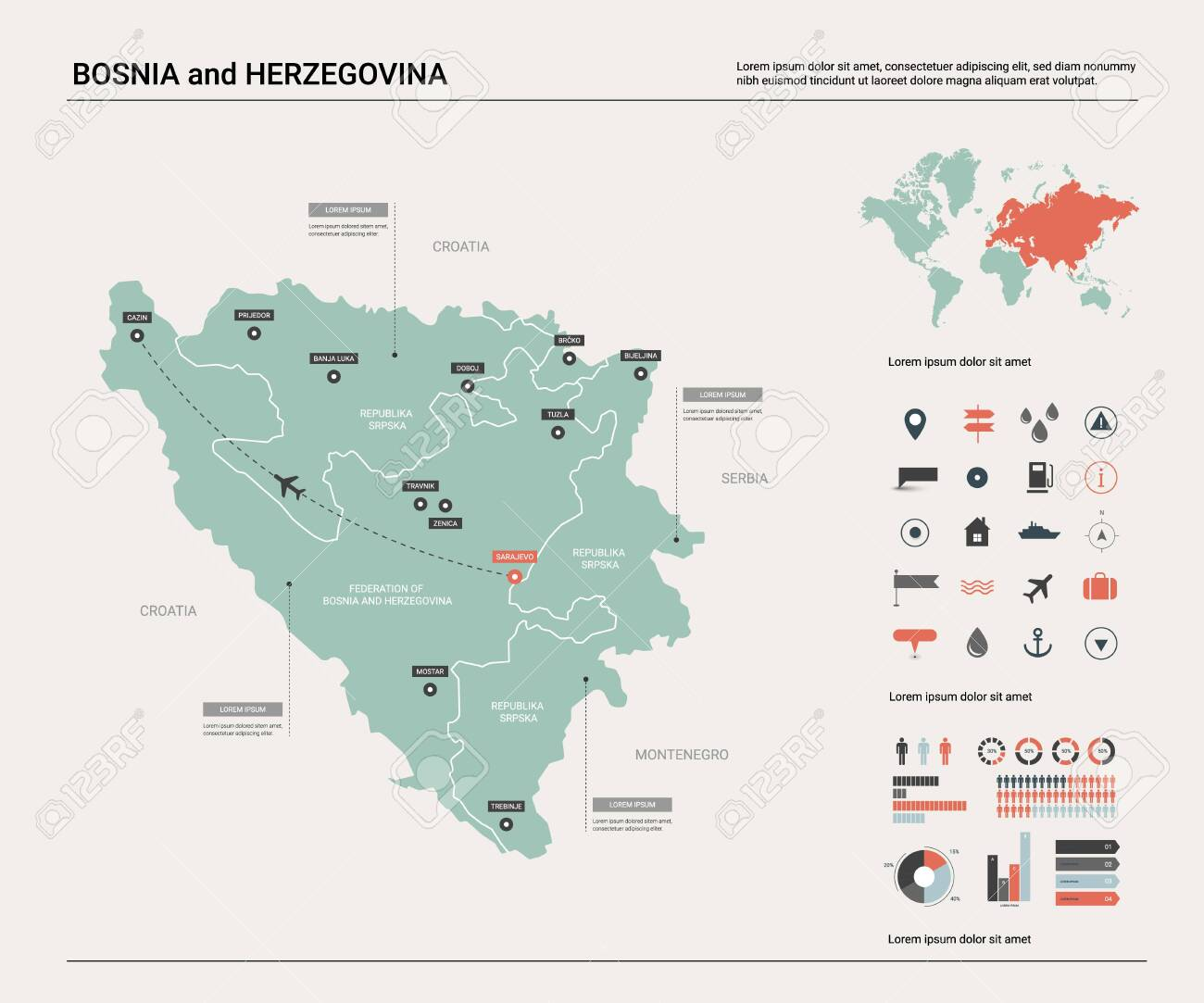 Vector map of Bosnia and Herzegovina. High detailed country..