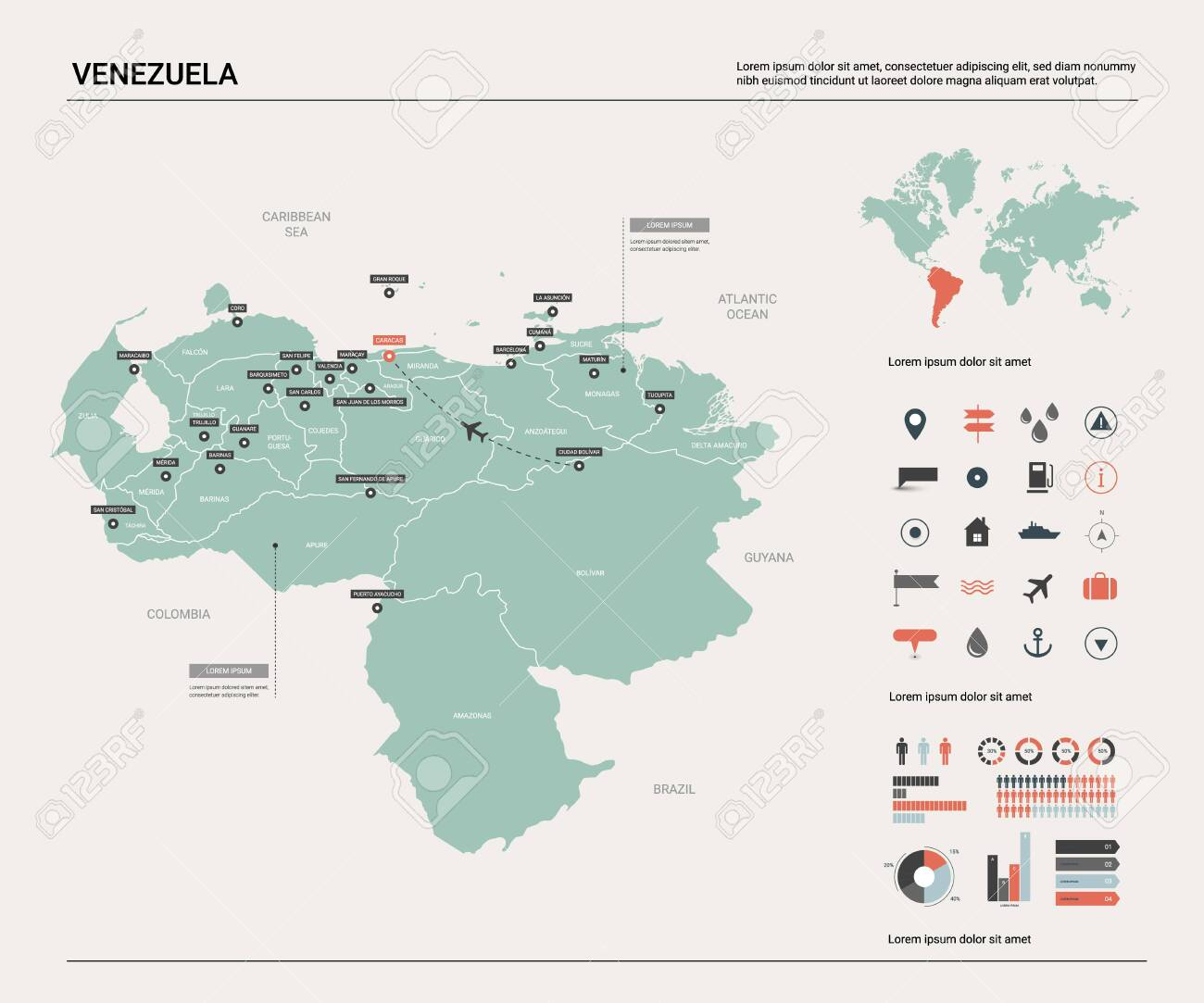 Vector map of Venezuela. High detailed country map with division,..