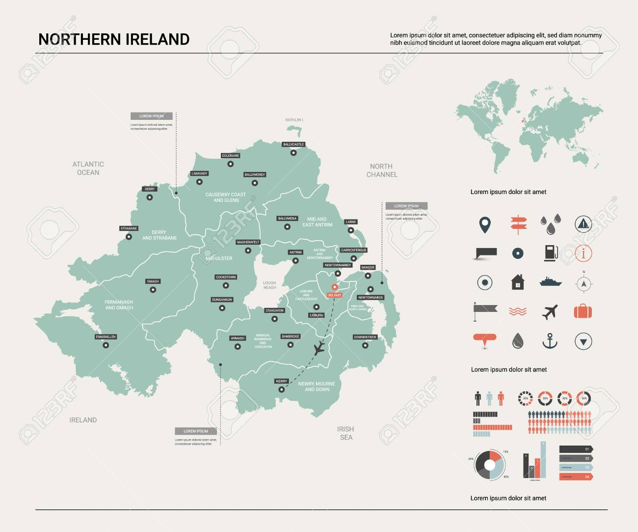 Map Of Northern Ireland Cities.Vector Map Of Northern Ireland High Detailed Country Map With