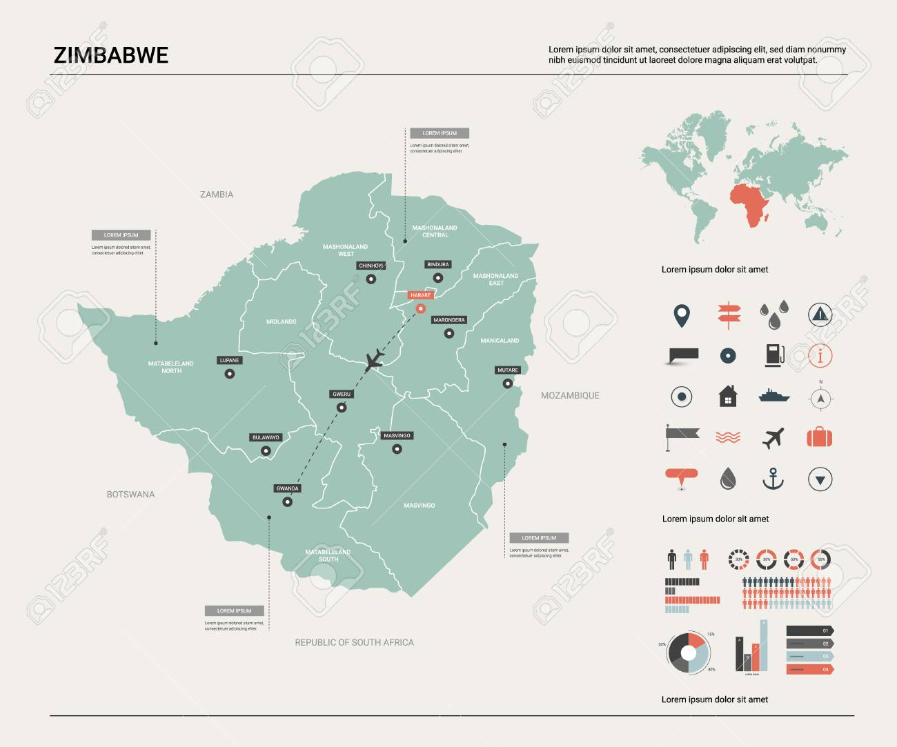 Map Zimbabwe.Vector Map Of Zimbabwe High Detailed Country Map With Division