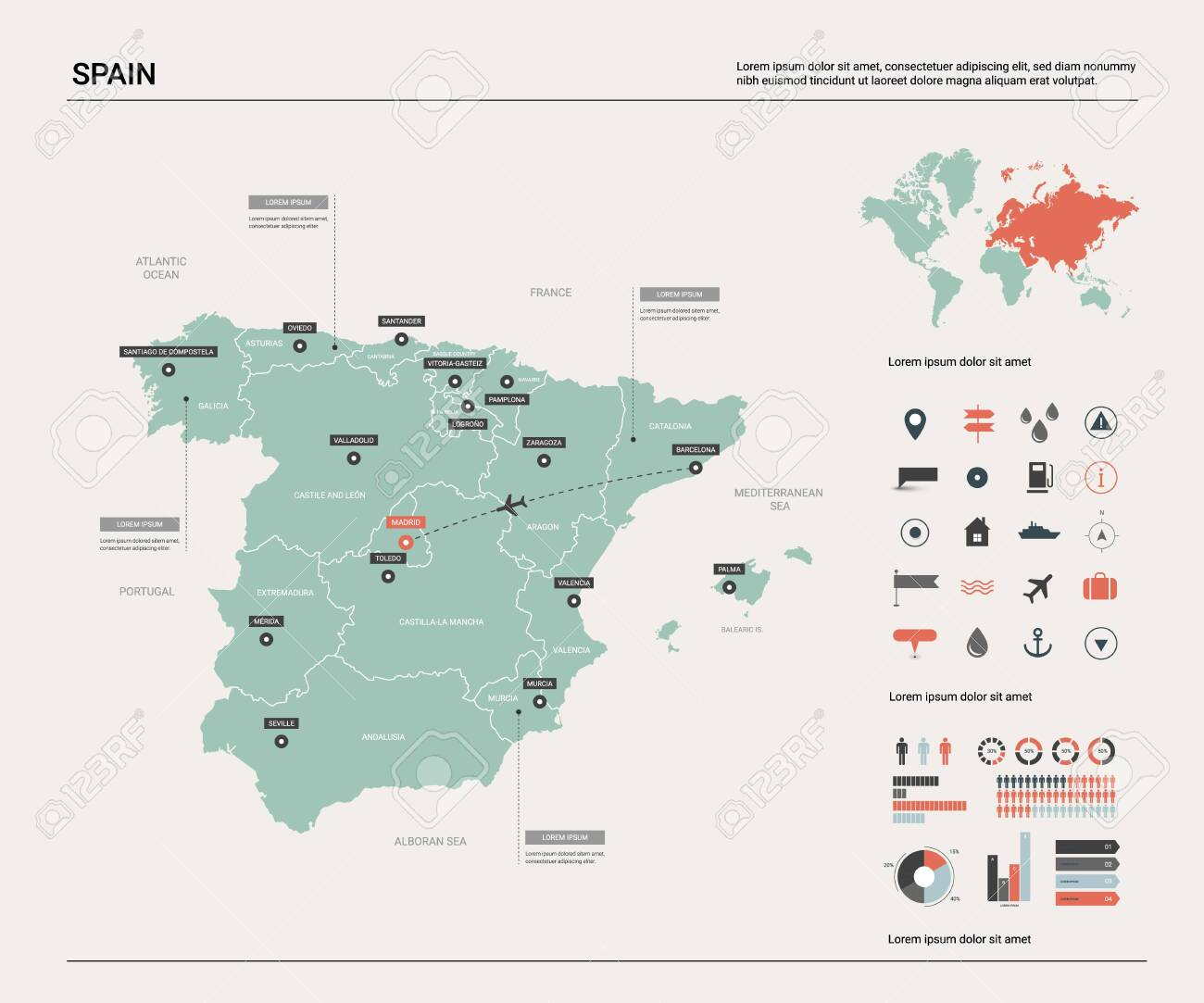 Image of: Vector Map Of Spain High Detailed Country Map With Division Royalty Free Cliparts Vectors And Stock Illustration Image 121510196