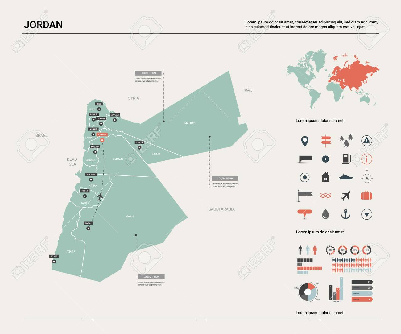 Vector map of Jordan. High detailed country map with division,..
