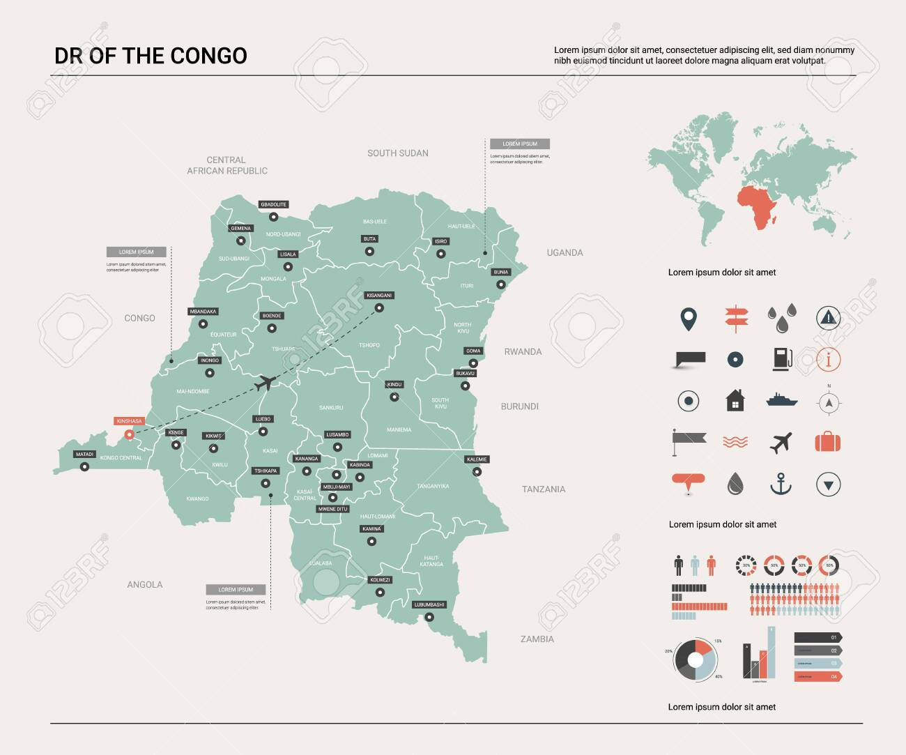 Vector map of DR of the Congo. High detailed country map with.. on manila world map, kampala world map, cairo world map, jeddah world map, phoenix world map, budapest world map, capital city world map, lagos world map, sri lanka world map, jakarta world map, tokyo world map, dili world map, karachi world map, amsterdam world map, palikir world map, islamabad world map, prague world map, damascus world map, cayenne world map, phnom phen world map,