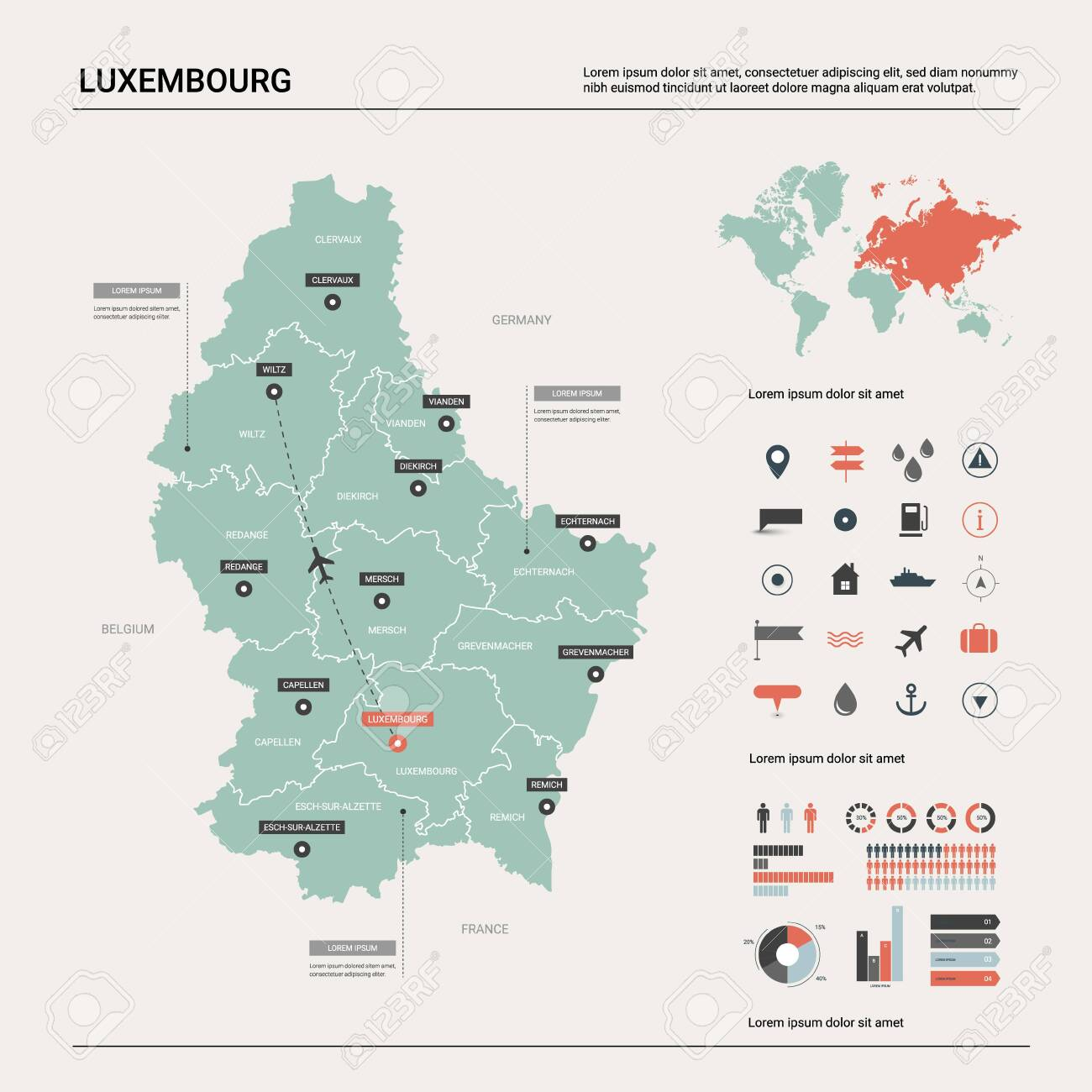 Vector map of Luxembourg. Country map with division, cities and..