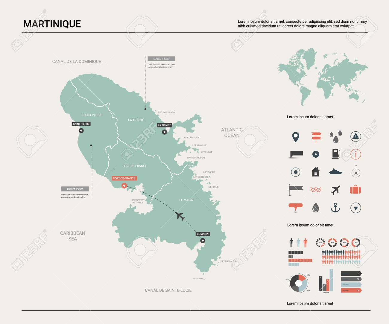 Country Map Of France.Vector Map Of Martinique Country Map With Division Cities And
