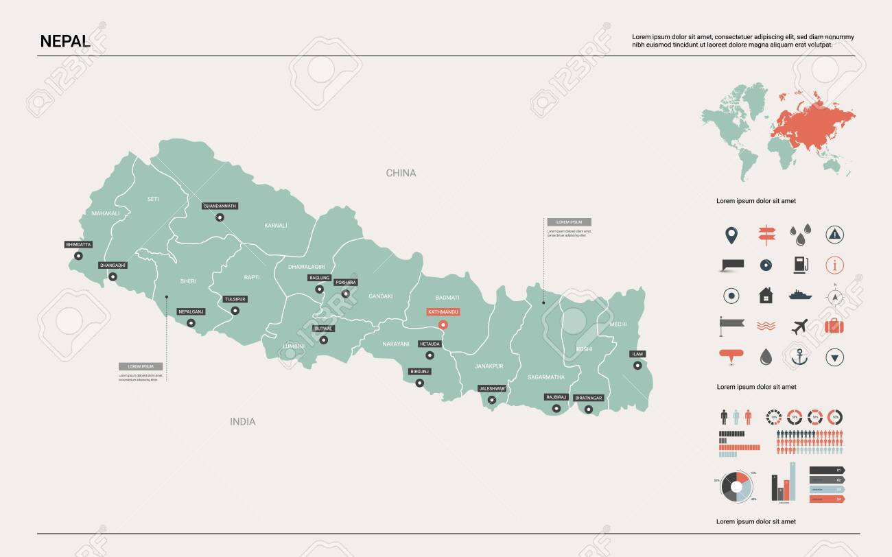 Vector Map Of Nepal Country Map With Division Cities And Capital Royalty Free Cliparts Vectors And Stock Illustration Image 122965338
