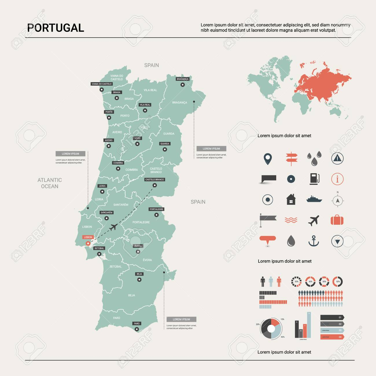 Picture of: Vector Map Of Portugal Country Map With Division Cities And Royalty Free Cliparts Vectors And Stock Illustration Image 124182675