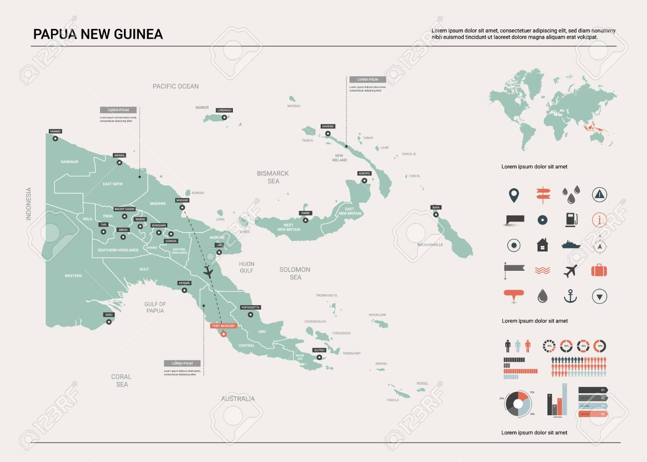 Vector map of Papua New Guinea. Country map with division, cities..