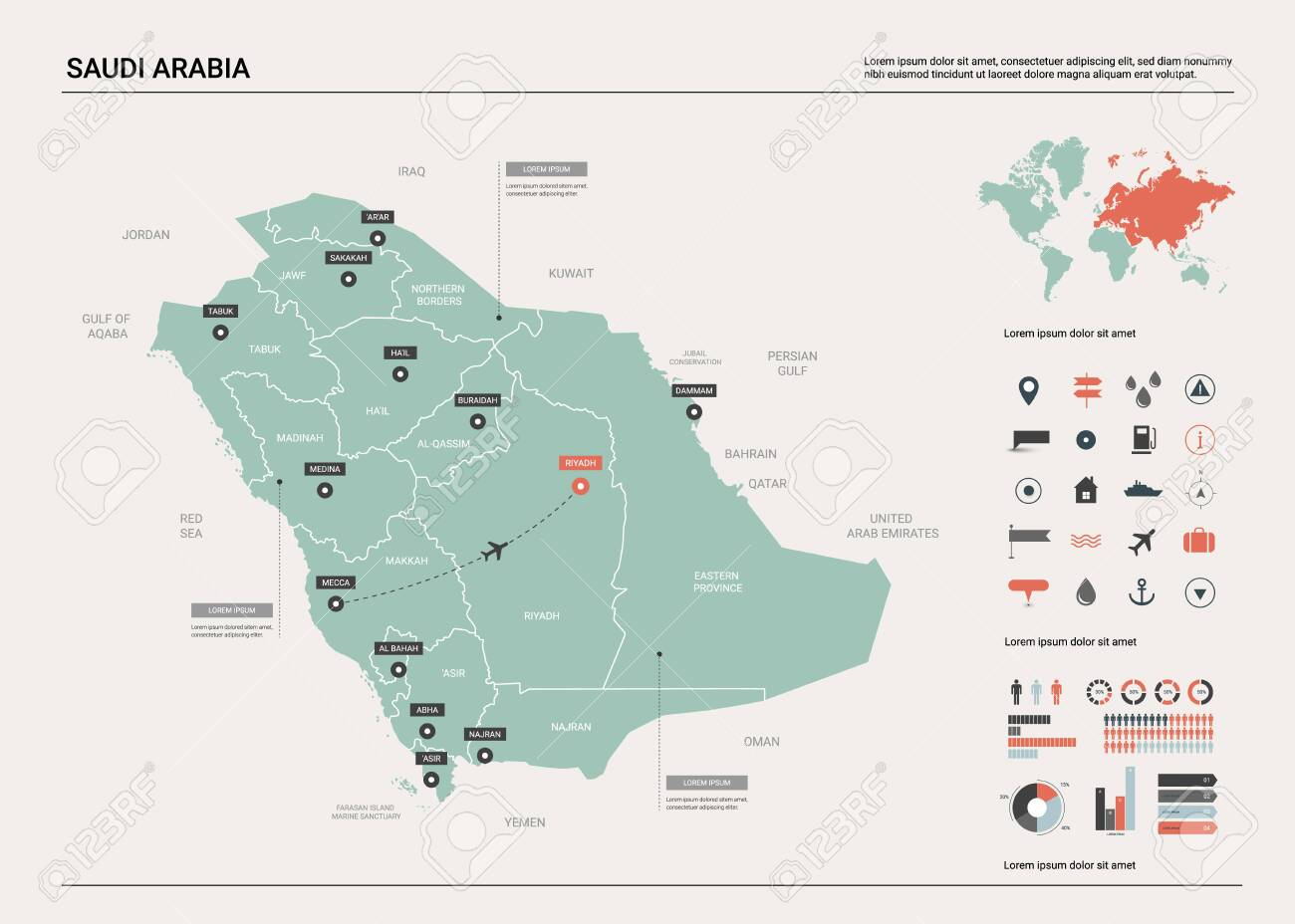 Vector map of Saudi Arabia. Country map with division, cities..