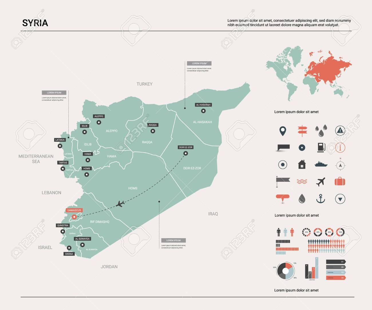 Vector Map Of Syria. Country Map With Division, Cities And Capital on