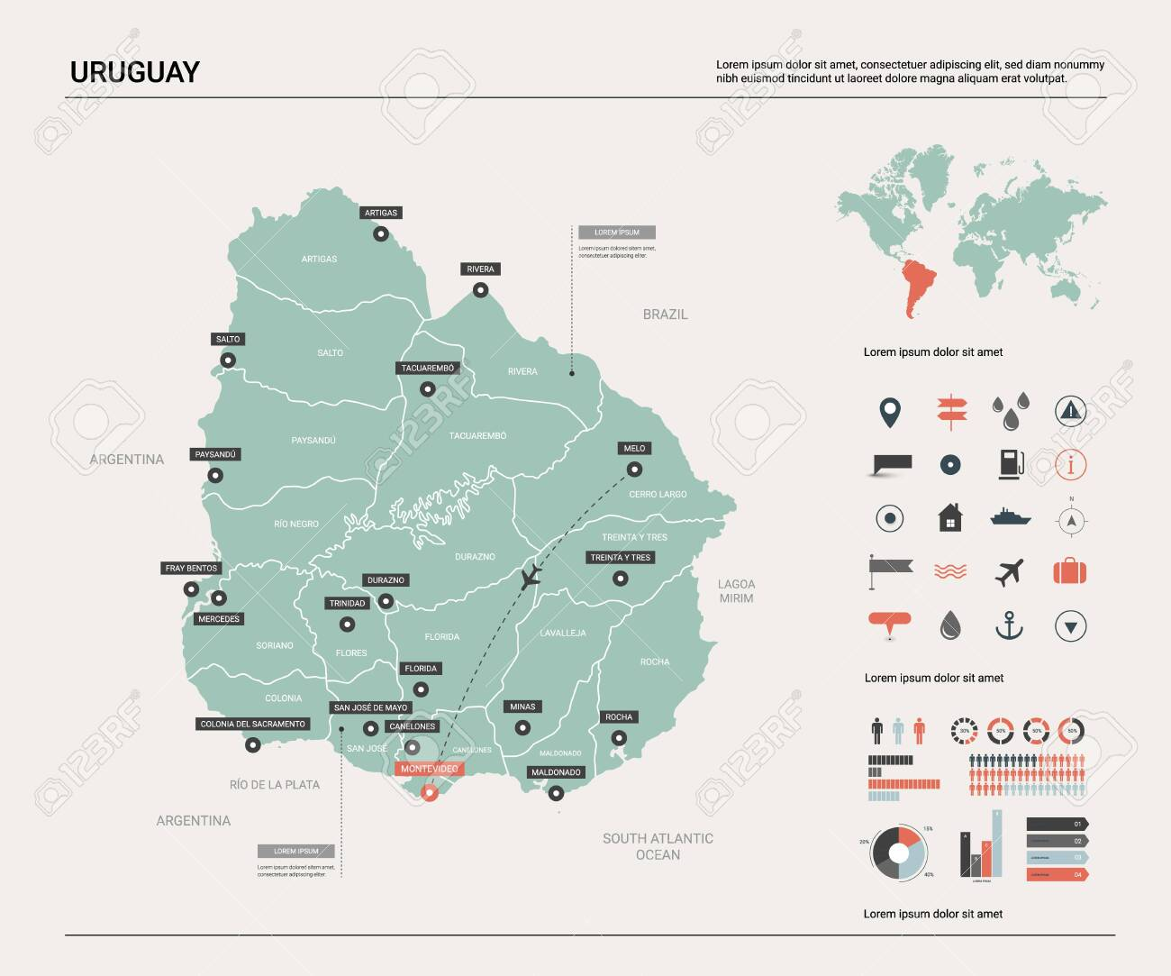 Picture of: Vector Map Of Uruguay Country Map With Division Cities And Royalty Free Cliparts Vectors And Stock Illustration Image 124819944