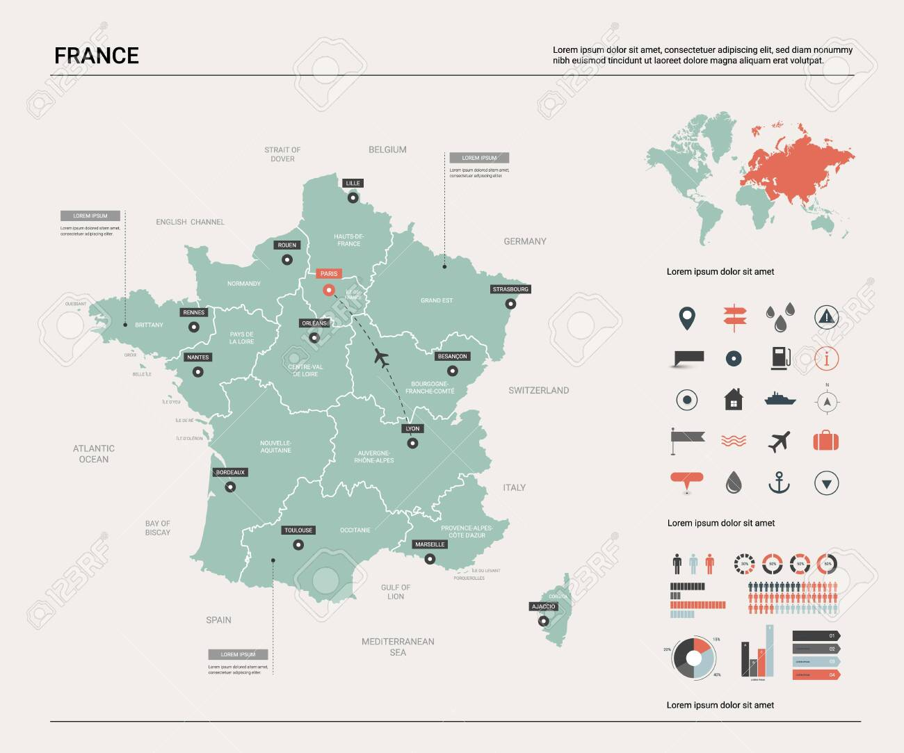 Vector map of France. Country map with division, cities and capital..