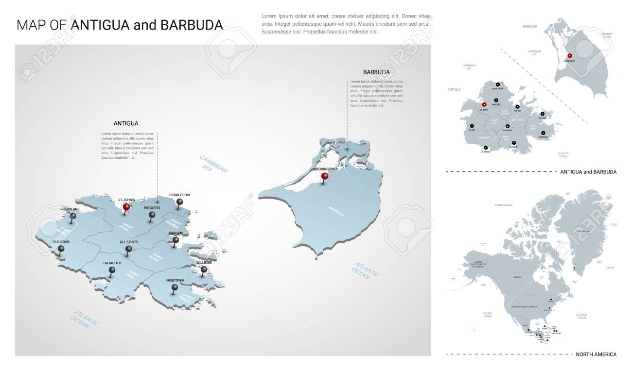 Vector set of Antigua and Barbuda island. Isometric 3d map,..
