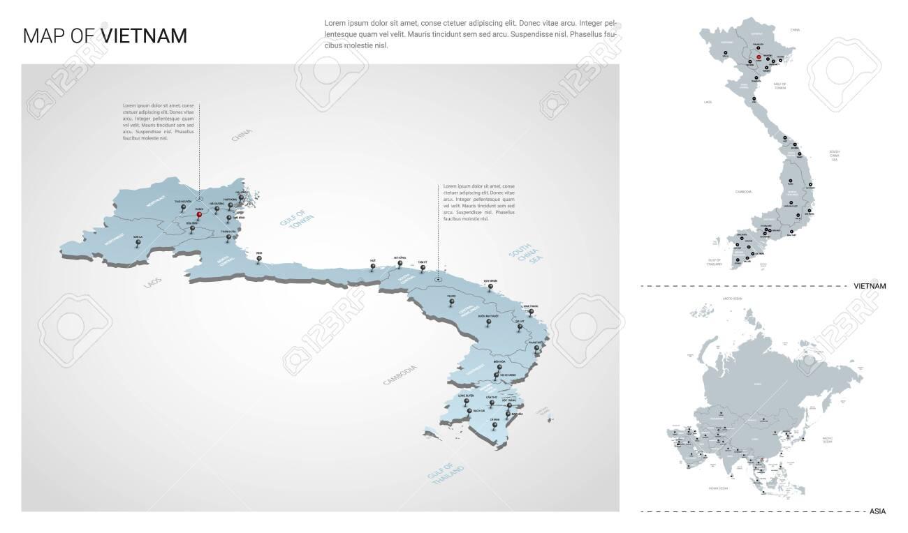 Vector set of Vietnam country. Isometric 3d map, Vietnam map,..