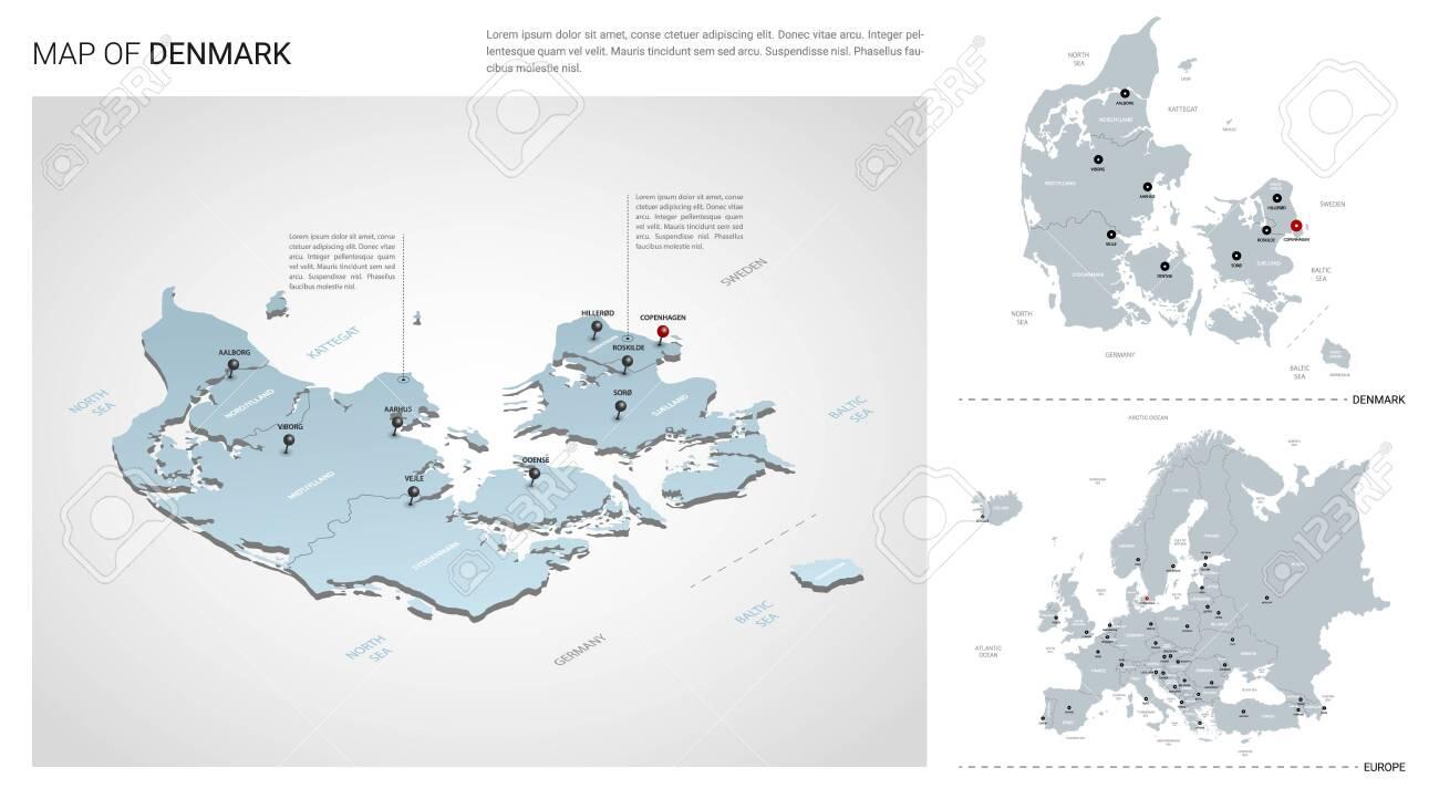 Vector set of Denmark country. Isometric 3d map, Denmark map,..