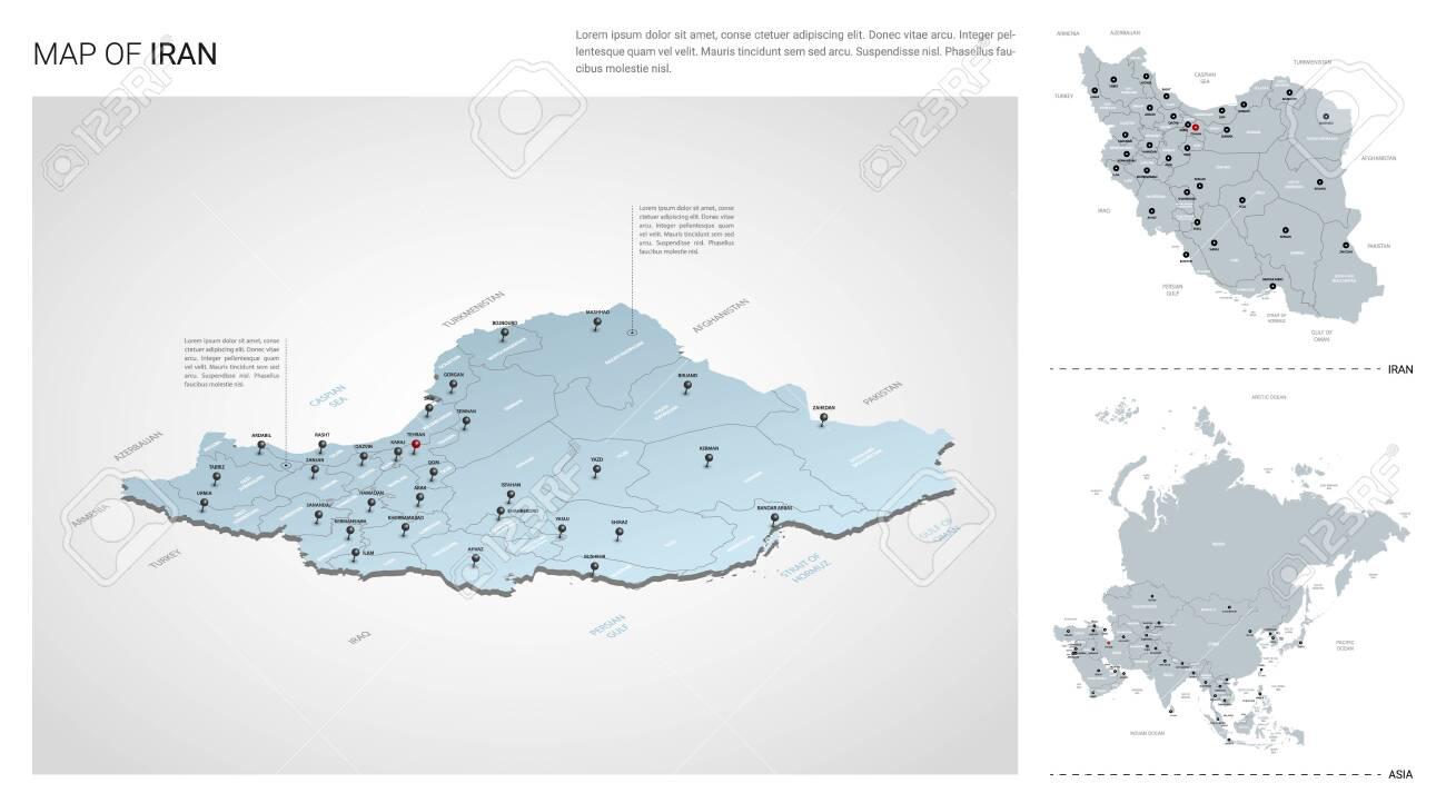 Vector set of Iran country. Isometric 3d map, Iran map, Asia..