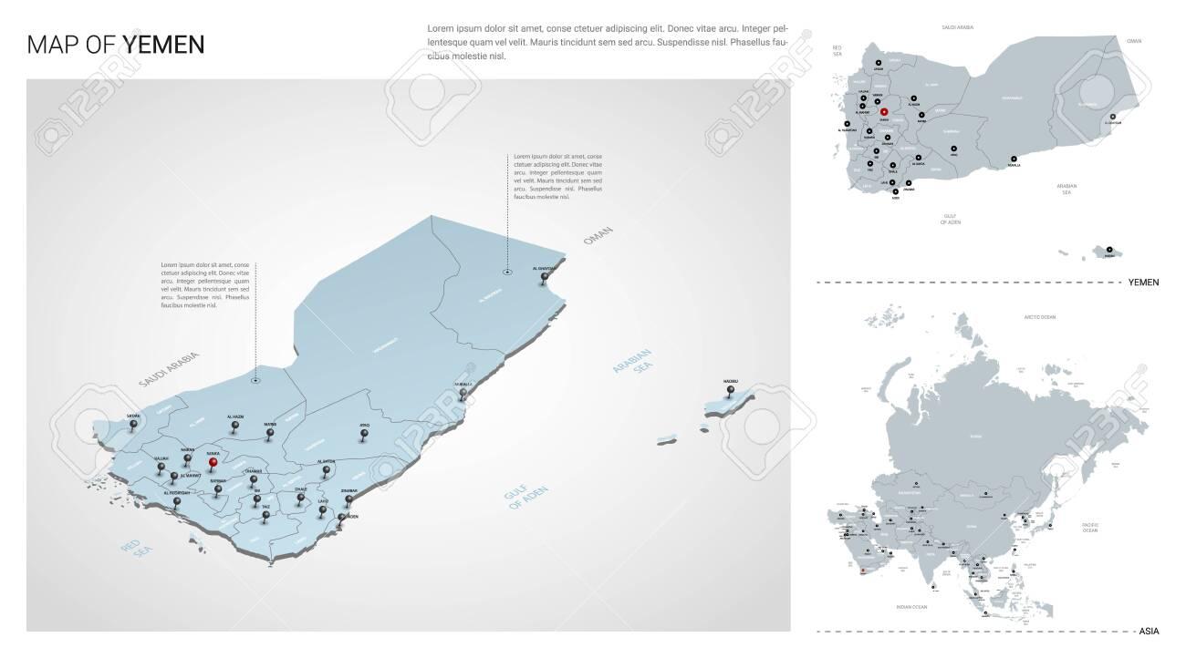 Vector set of Yemen country. Isometric 3d map, Yemen map, Asia..
