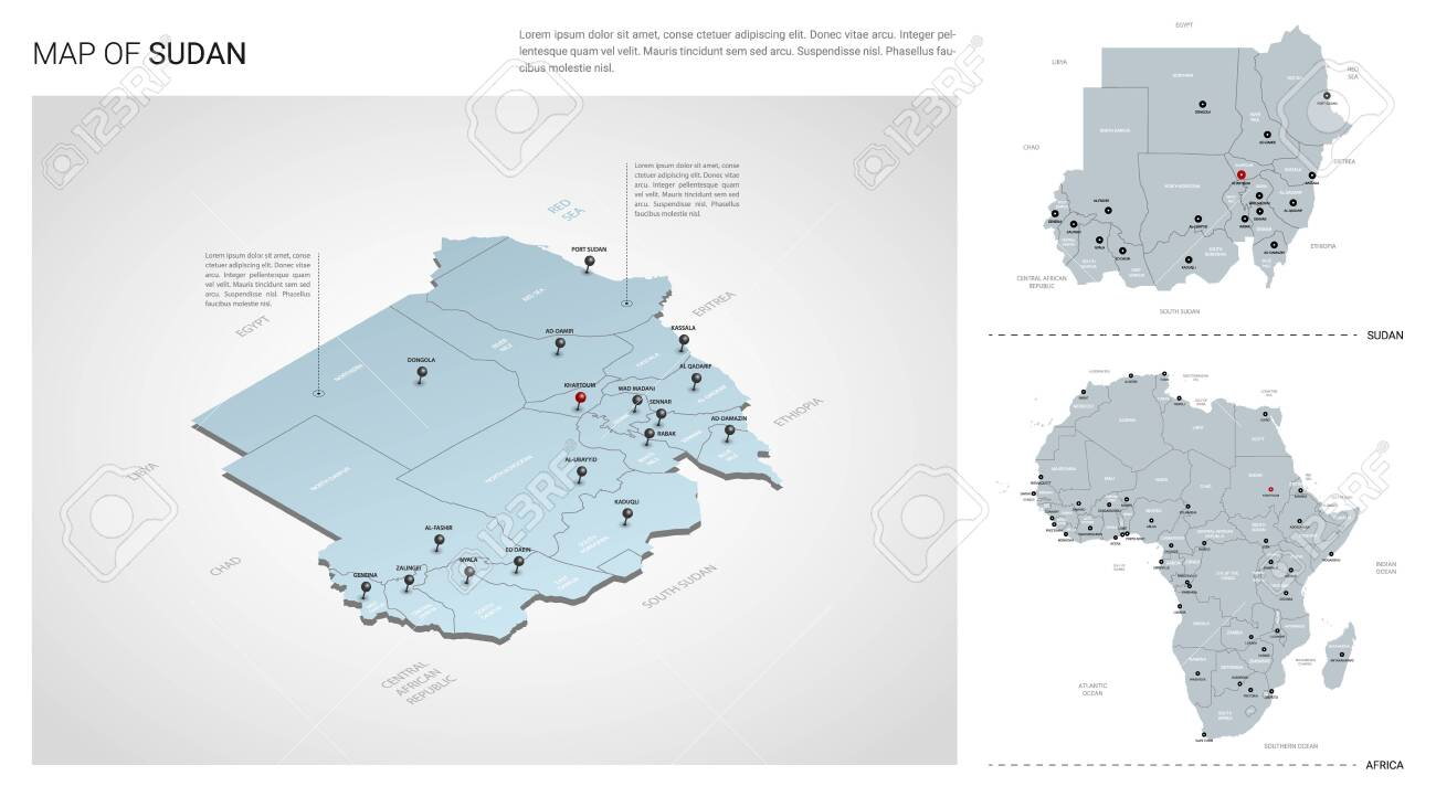 Vector set of Sudan country. Isometric 3d map, Sudan map, Africa map - with region, state names and city names. - 129291734