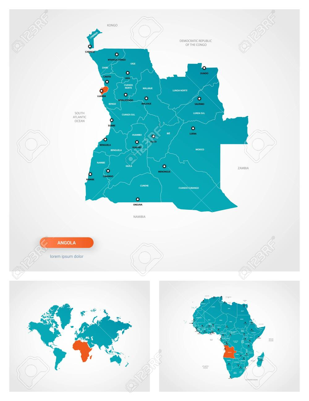 Picture of: Editable Template Of Map Of Angola With Marks Angola On World Royalty Free Cliparts Vectors And Stock Illustration Image 144155401