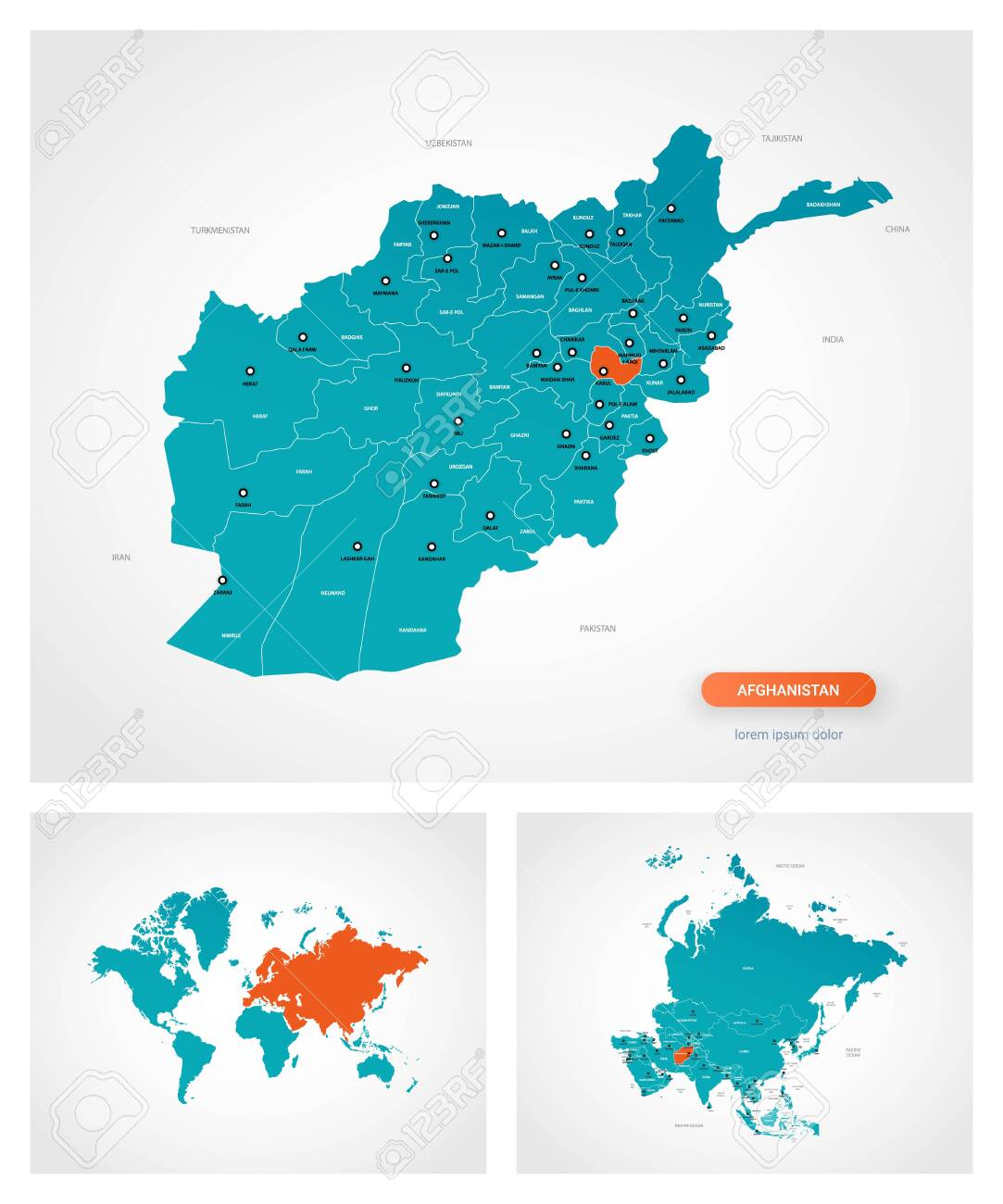 Editable Template Of Map Of Afghanistan With Marks Afghanistan On World Map And On Asia Map Ilustraciones Vectoriales Clip Art Vectorizado Libre De Derechos Image 144439944