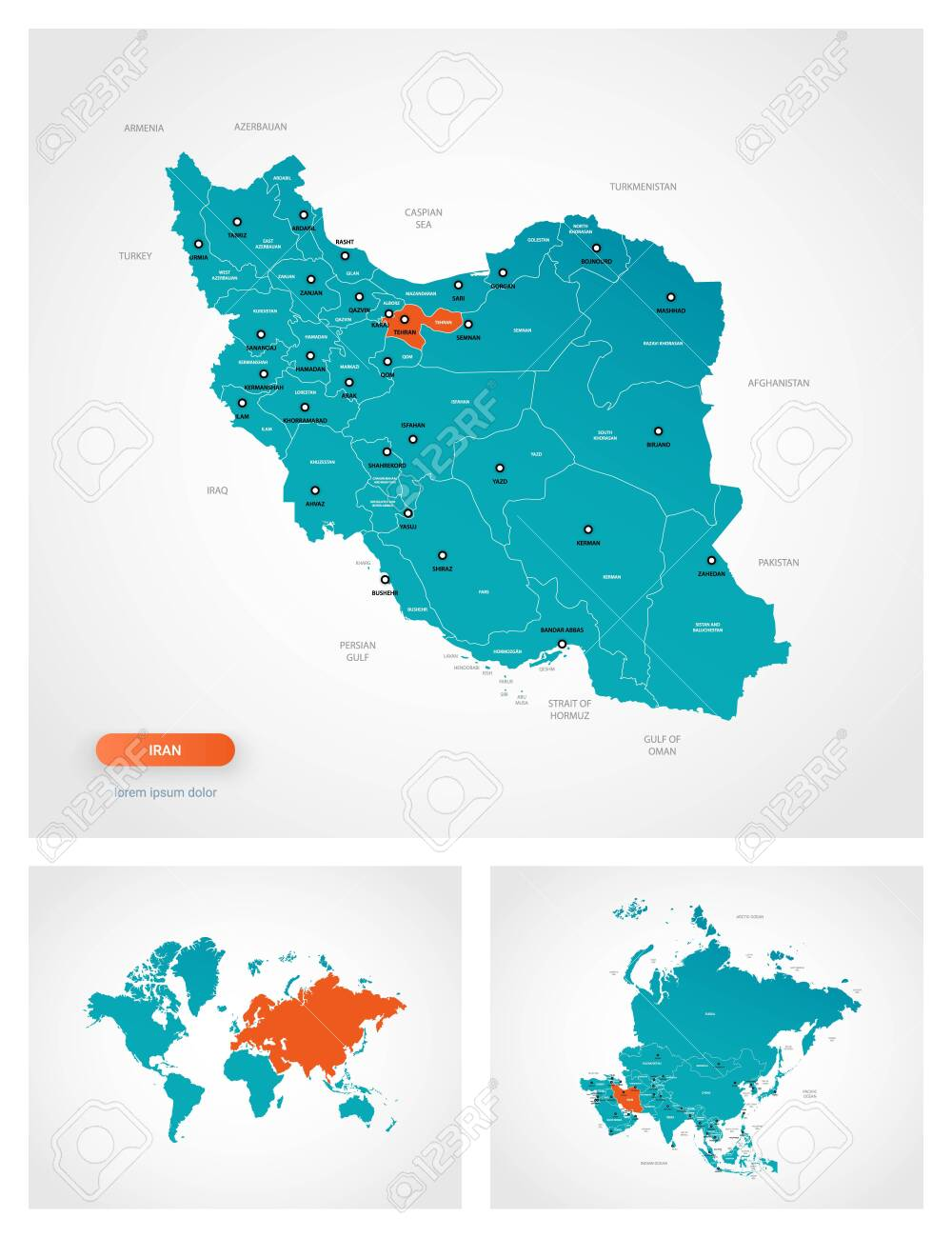 Image of: Editable Template Of Map Of Iran With Marks Iran On World Map Royalty Free Cliparts Vectors And Stock Illustration Image 146234648