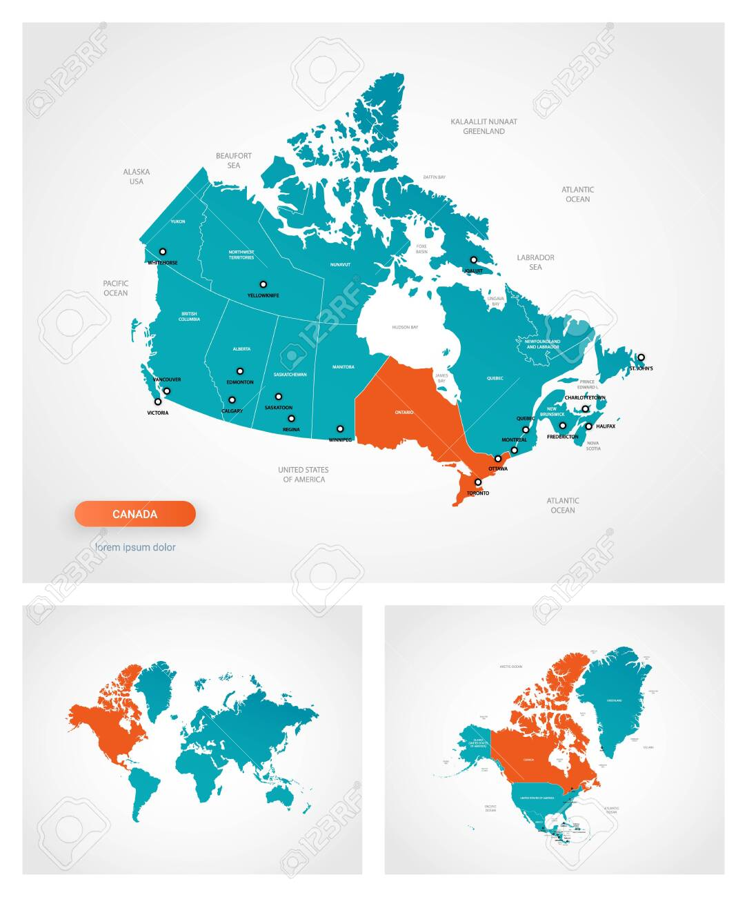 Editable Template Of Map Of Canada With Marks Canada On World Royalty Free Cliparts Vectors And Stock Illustration Image 146523391