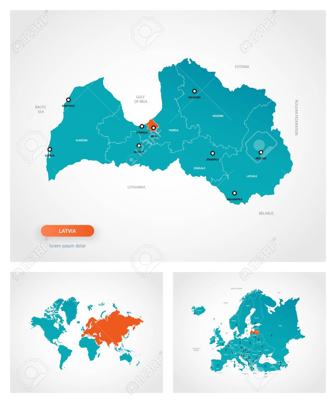 Picture of: Editable Template Of Map Of Latvia With Marks Latvia On World Royalty Free Cliparts Vectors And Stock Illustration Image 147686114