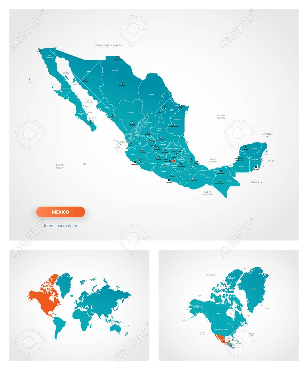 Picture of: Editable Template Of Map Of Mexico With Marks Mexico On World Royalty Free Cliparts Vectors And Stock Illustration Image 148704803