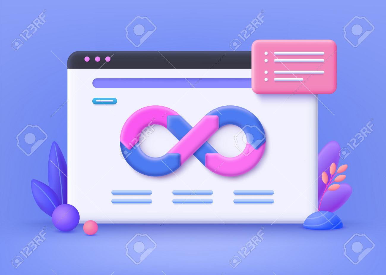 Devops concept, web development. Developing of internet app, online website service. DevOps landing page, programming and engineering service web banner. 3d vector illustration. - 168117454