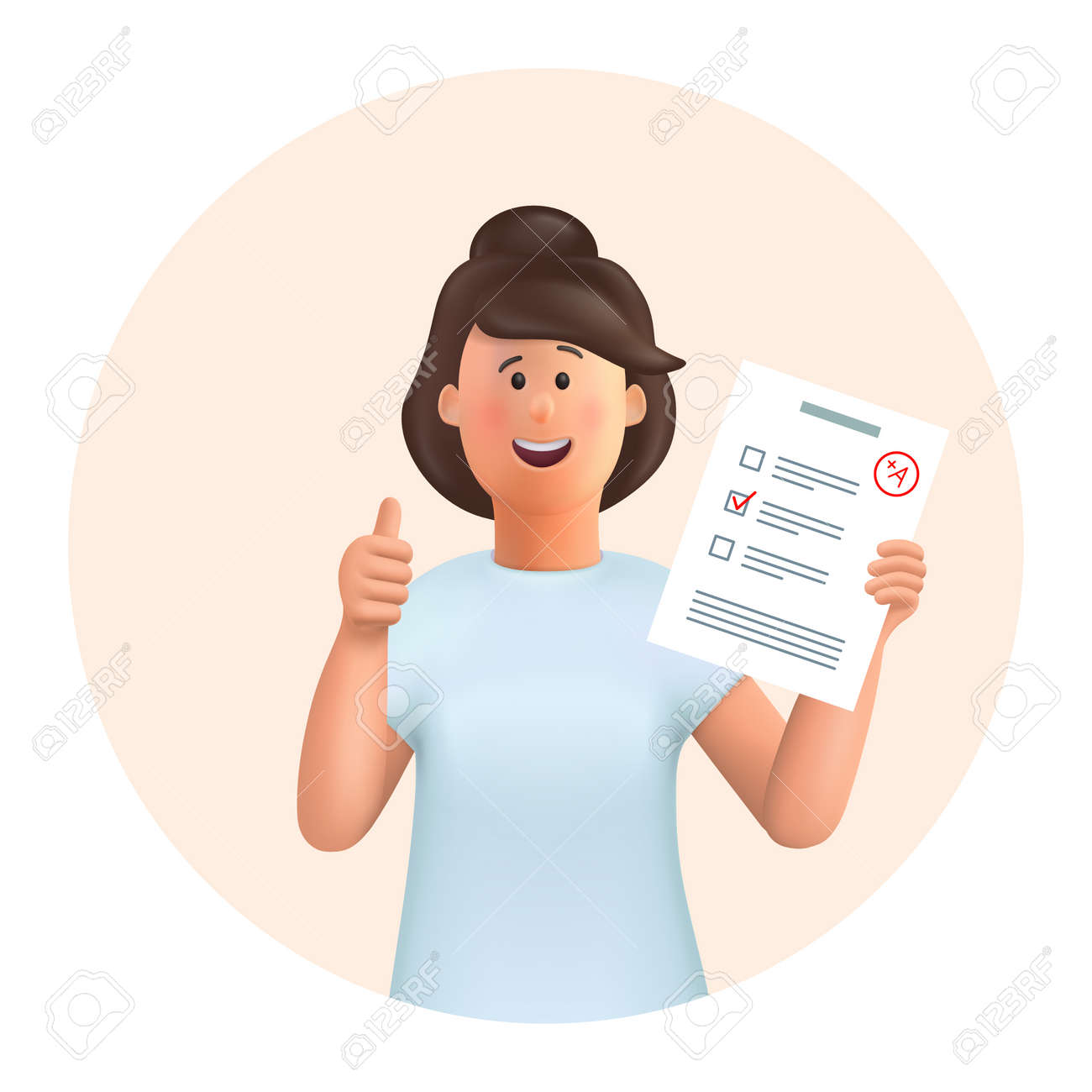 3D cartoon character. Young woman Jane standing with test exam results, education test, questionnaire document showing thumbs up. Education, study, success, like concept. - 168117455